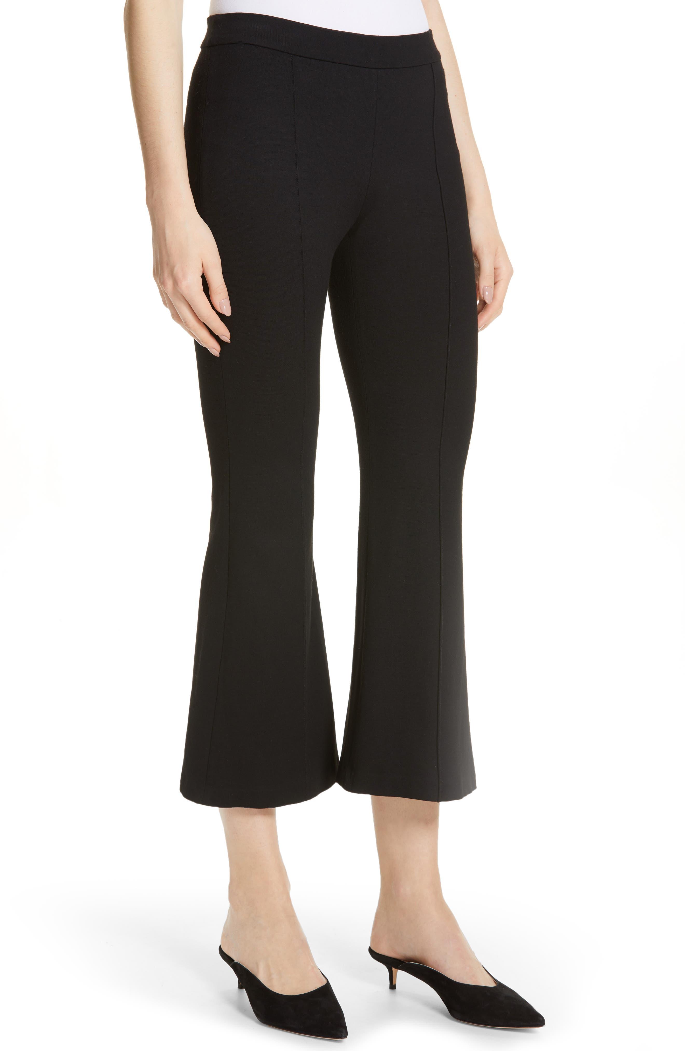 Crop Flare Jersey Pants,                             Alternate thumbnail 4, color,                             BLACK