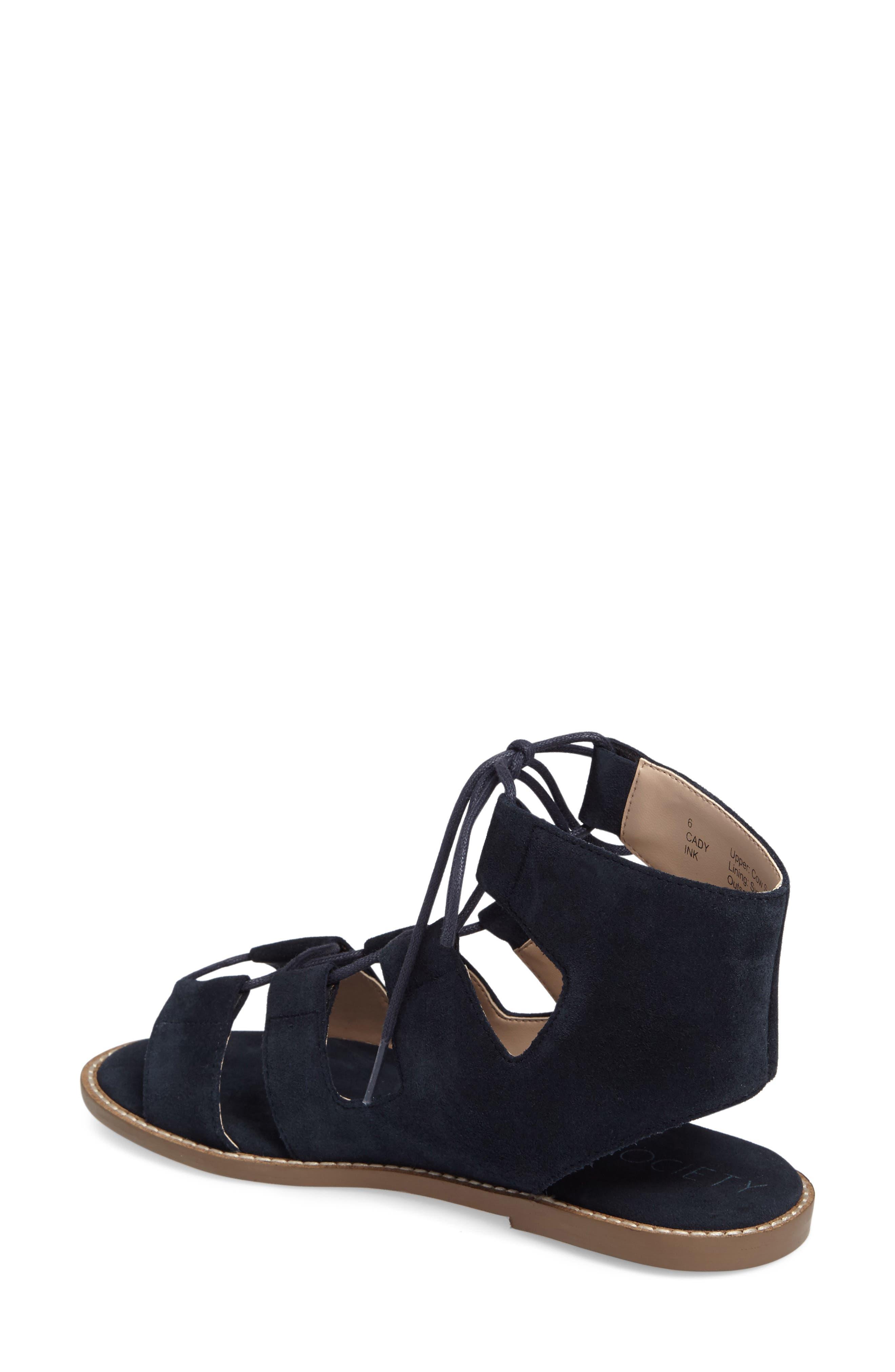 'Cady' Lace-Up Flat Sandal,                             Alternate thumbnail 8, color,