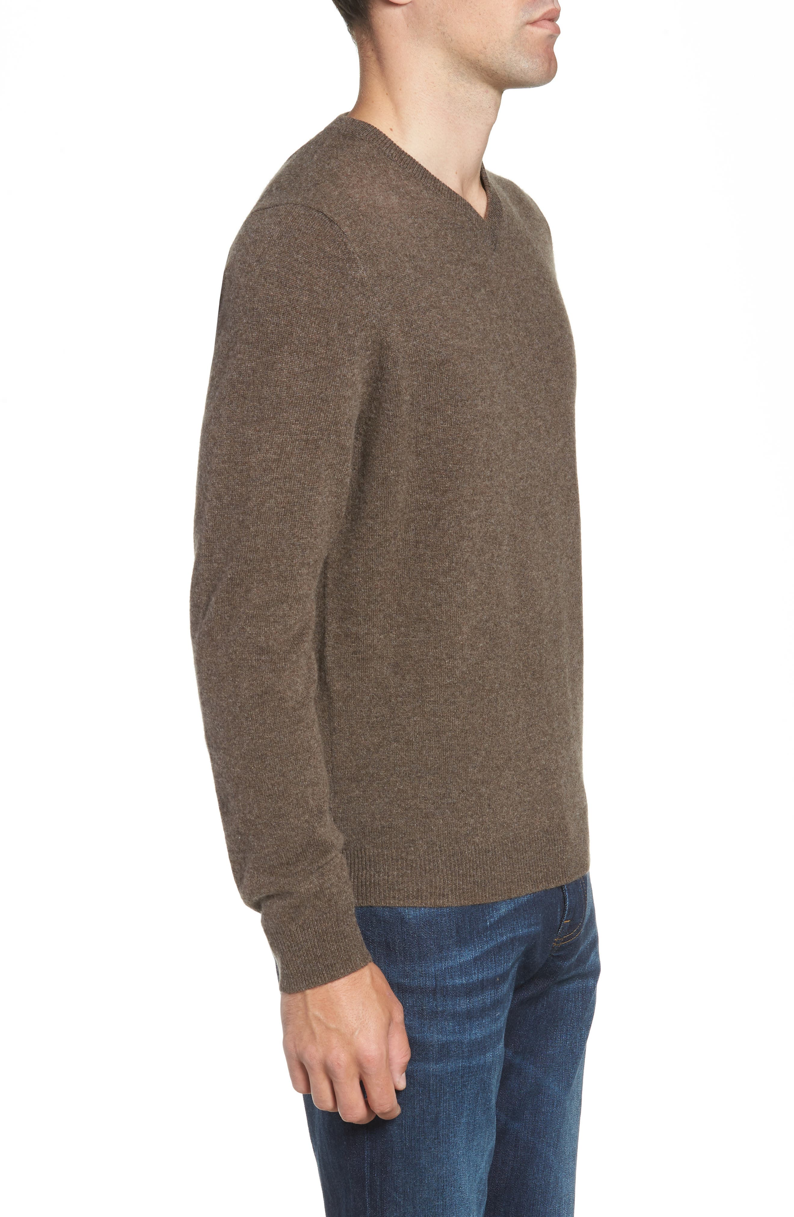 Cashmere V-Neck Sweater,                             Alternate thumbnail 3, color,                             BROWN FAWN
