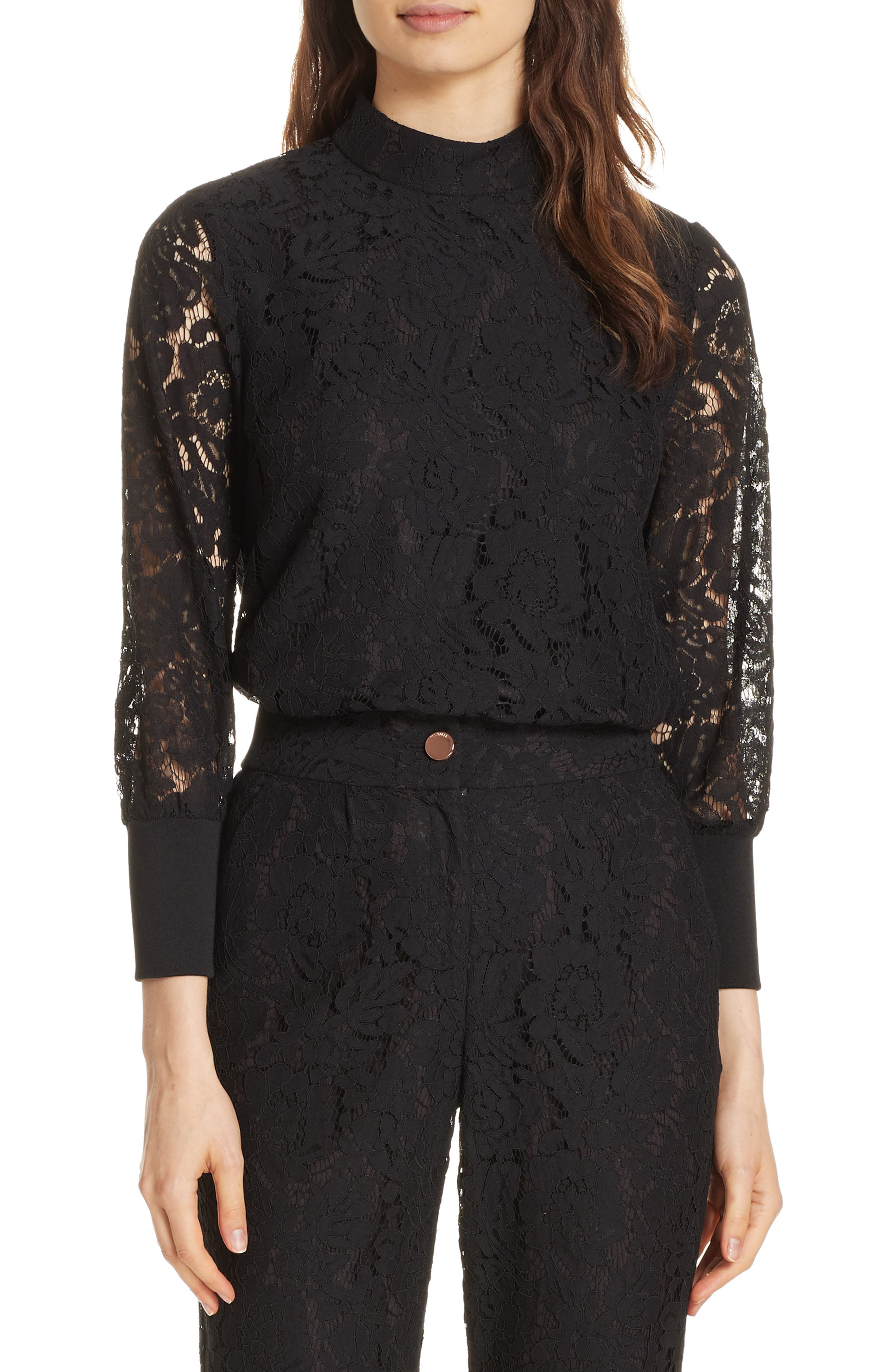 Dilly Lace High Neck Blouse,                             Main thumbnail 1, color,                             BLACK