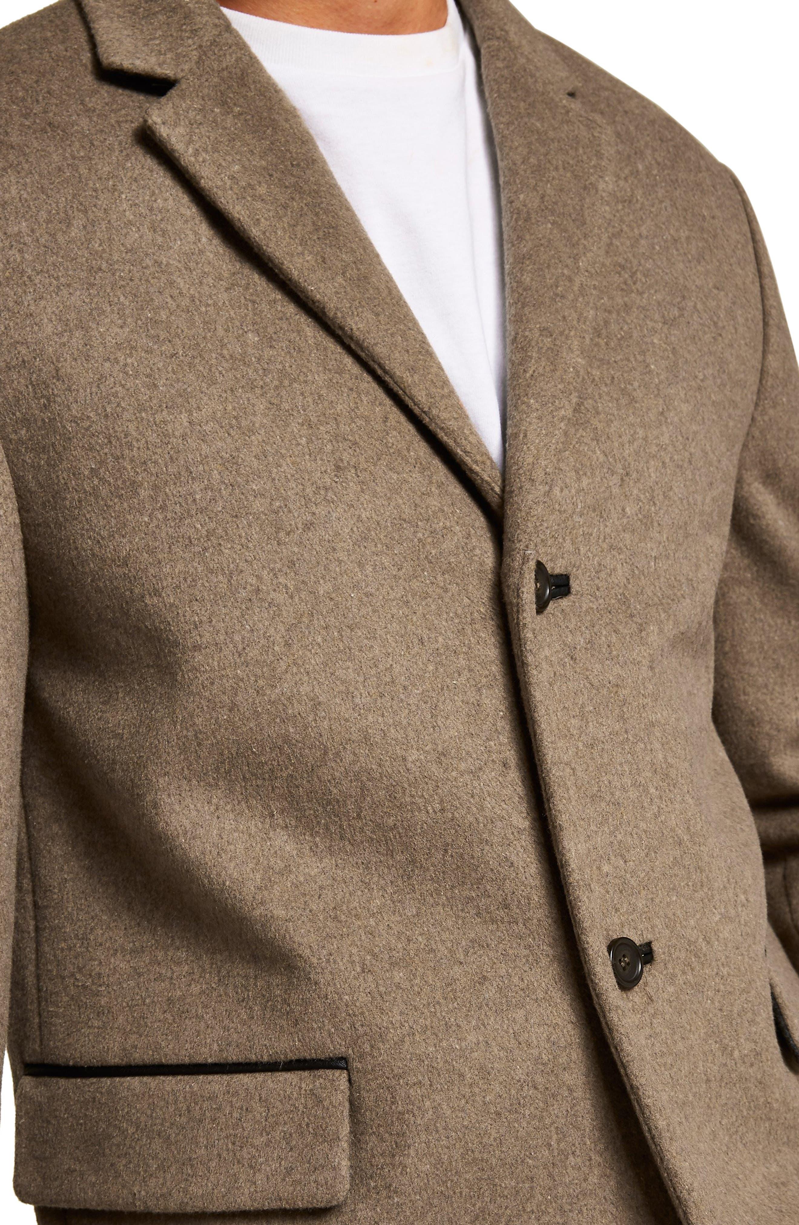 Wool Blend Overcoat,                             Alternate thumbnail 3, color,                             LIGHT BROWN