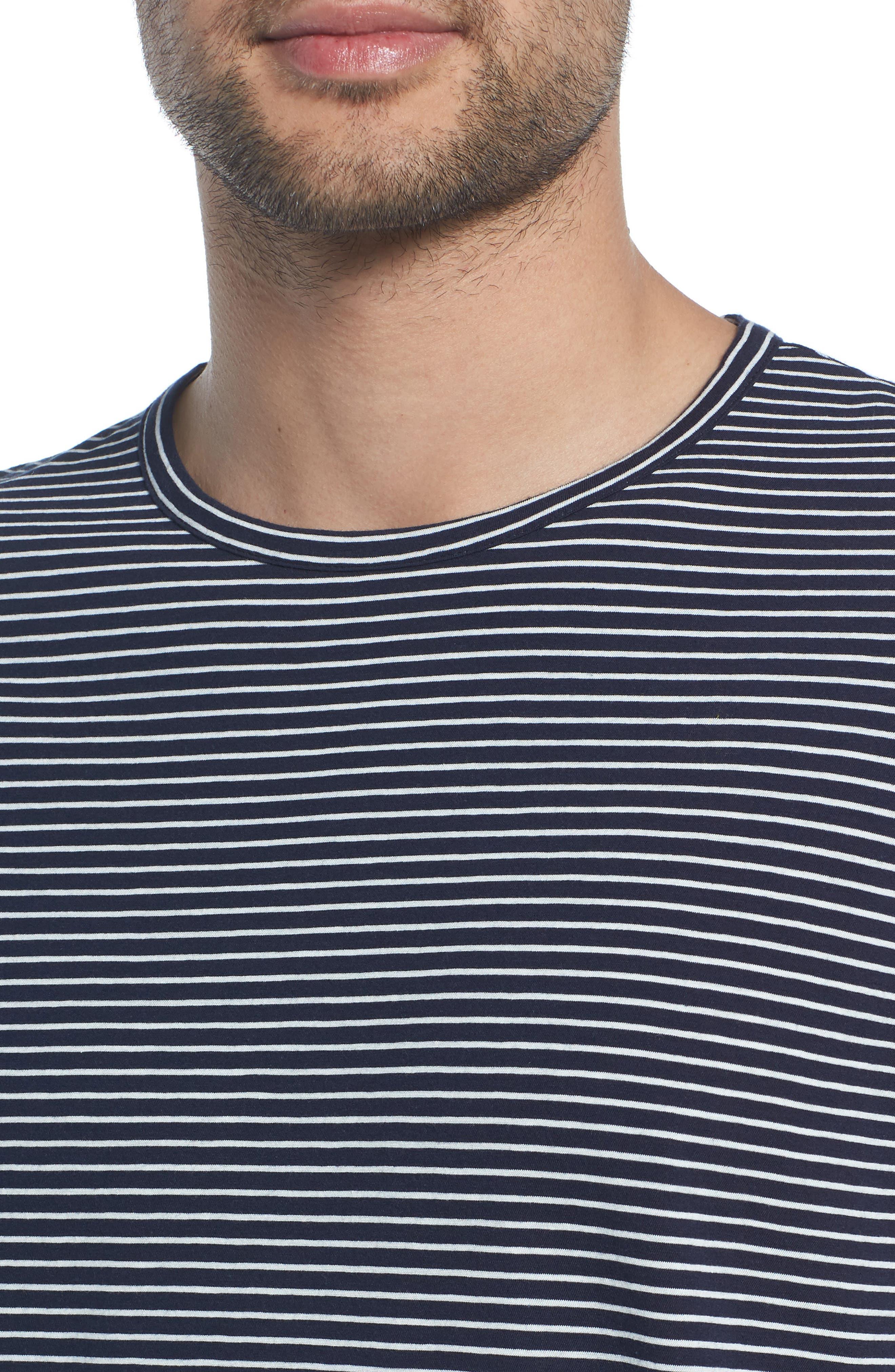 Stripe Crewneck T-Shirt,                             Alternate thumbnail 4, color,                             NEW COASTAL/ LECHE