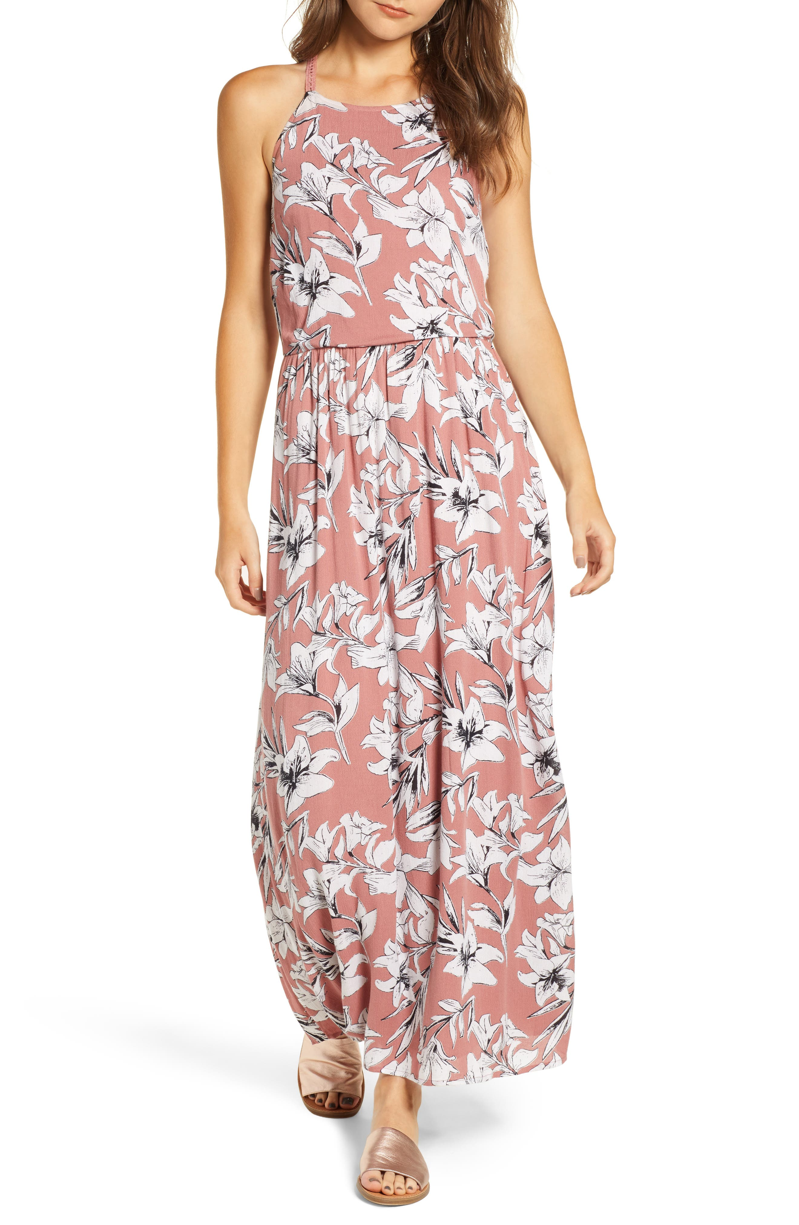 Pavement Border Maxi Dress,                         Main,                         color, WITHERED ROSE LILY HOUSE