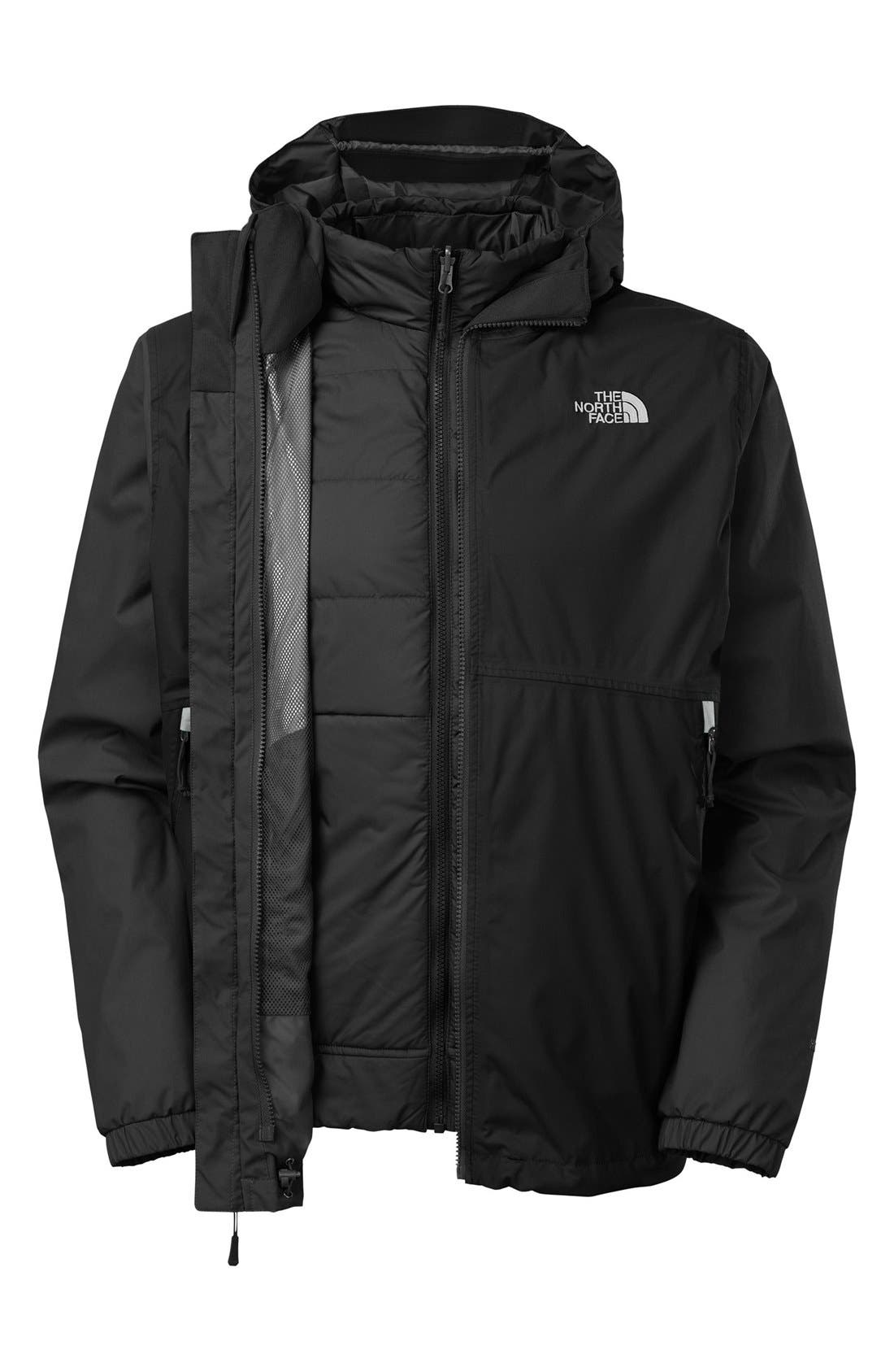 'All About' TriClimate<sup>®</sup> Waterproof Hooded 3-in-1 HyVent<sup>®</sup> Jacket,                             Alternate thumbnail 4, color,                             001
