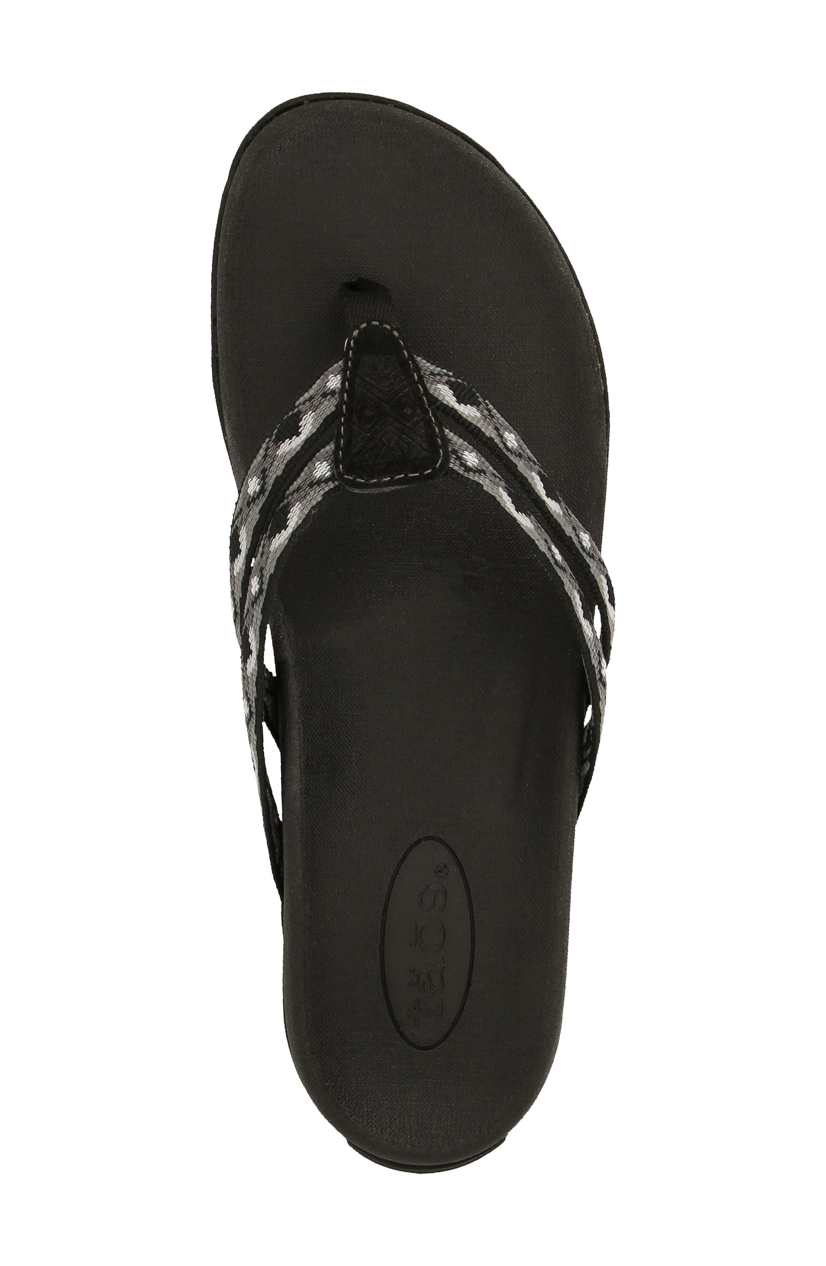 Primo Flip Flop,                             Alternate thumbnail 3, color,                             BLACK/ WHITE FABRIC