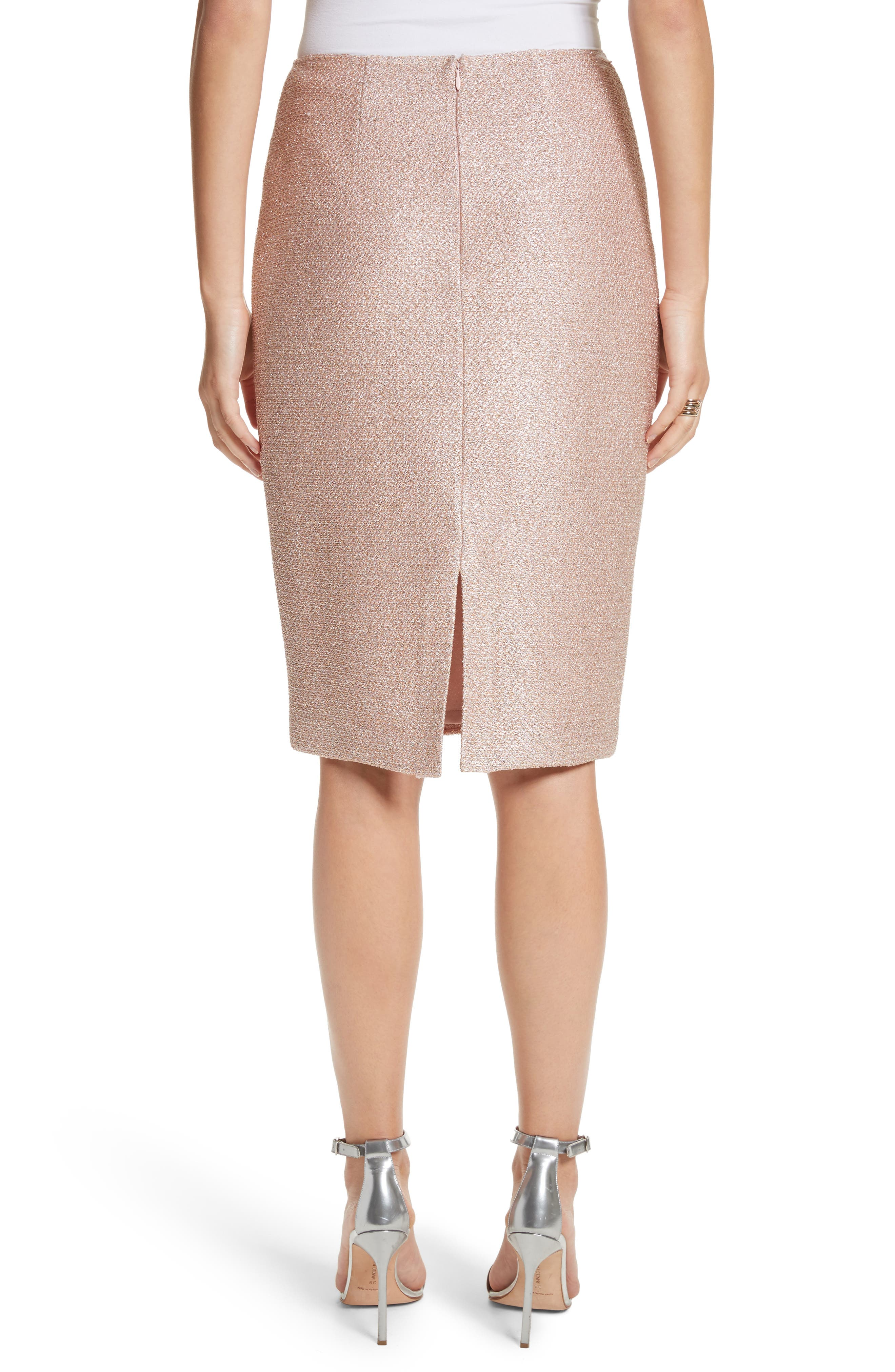 ST. JOHN COLLECTION,                             Frosted Metallic Knit Pencil Skirt,                             Alternate thumbnail 2, color,                             660