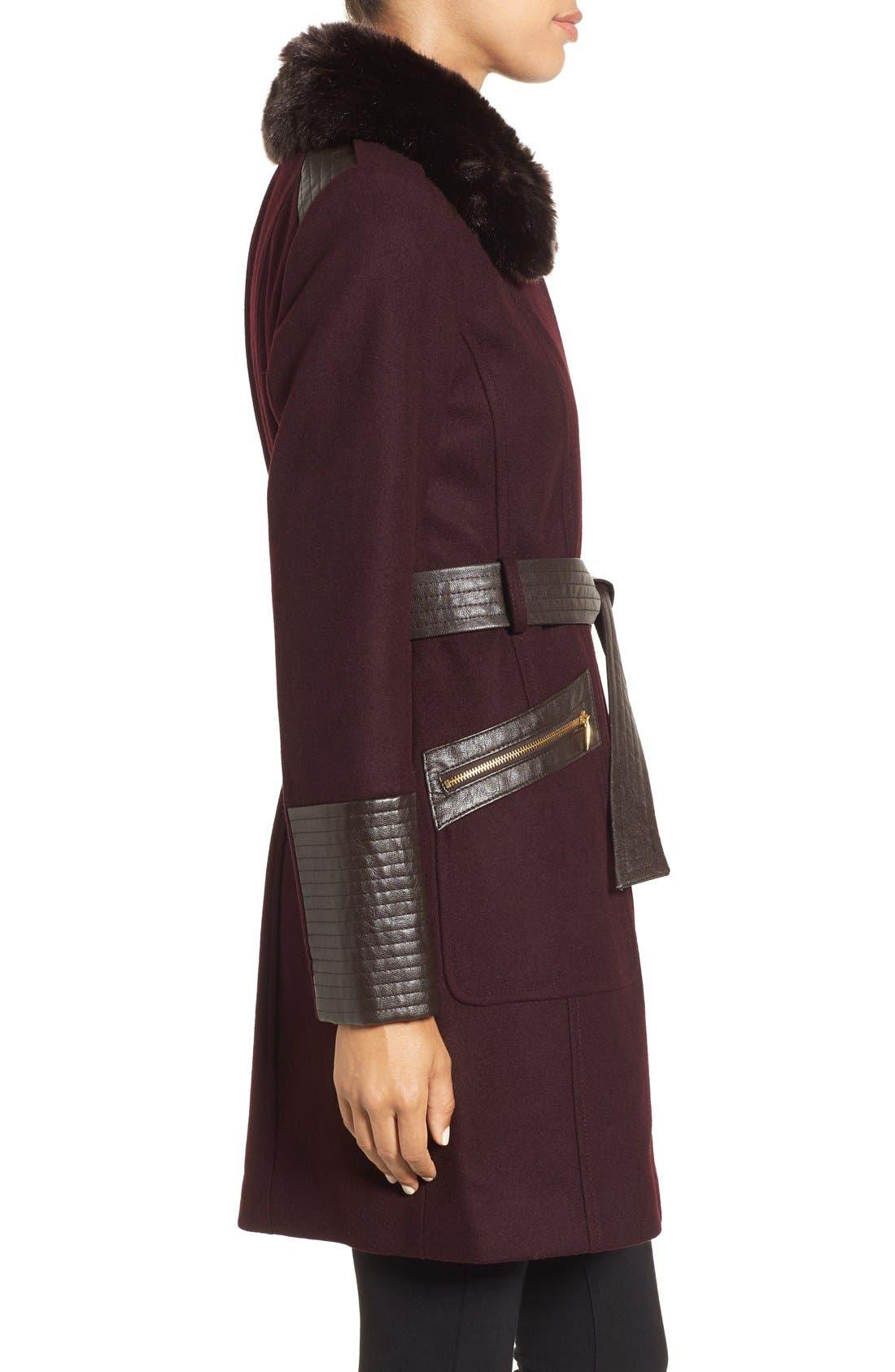 Faux Leather & Faux Fur Trim Belted Wool Blend Coat,                             Alternate thumbnail 24, color,