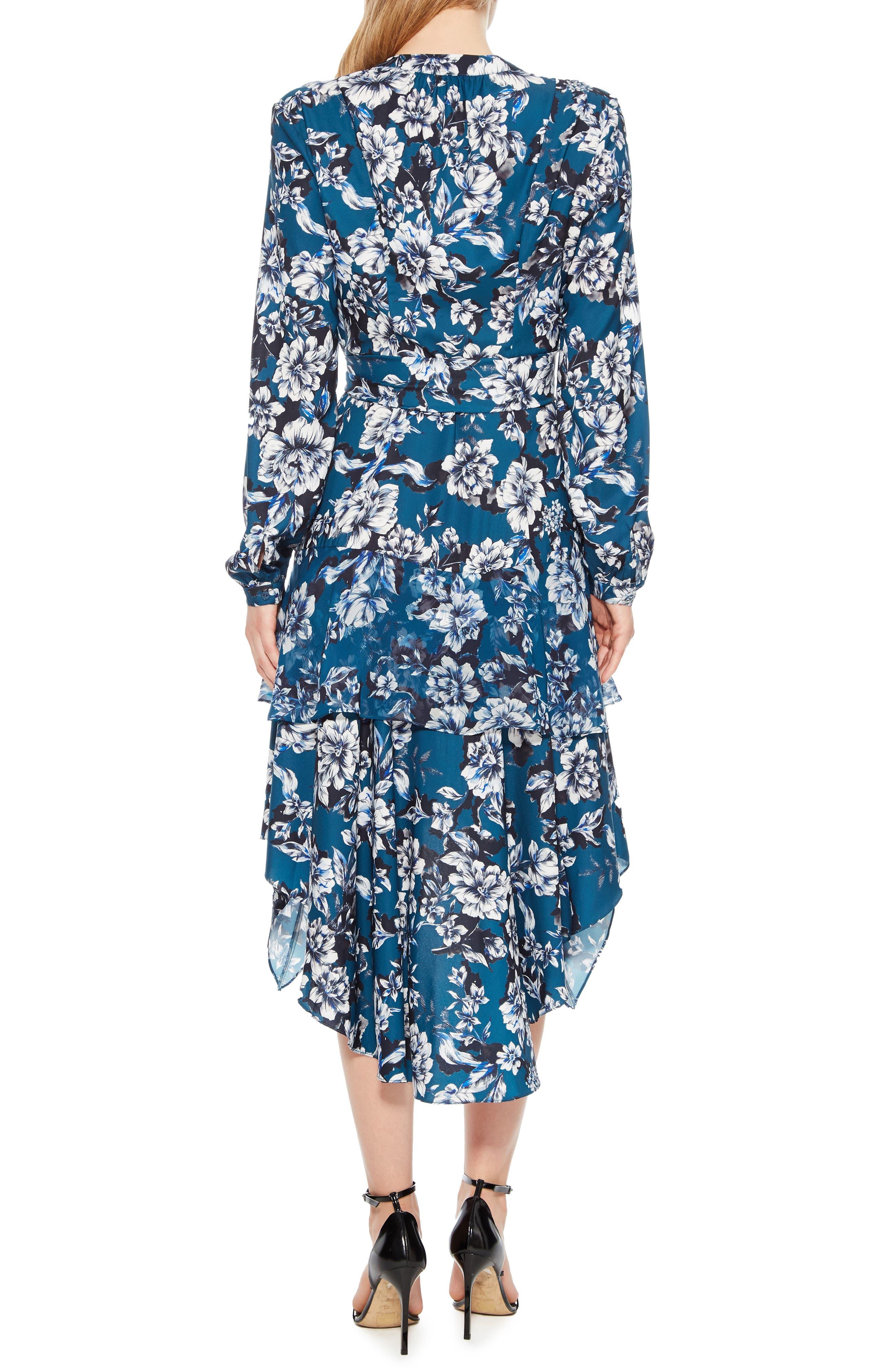 Estella Asymmetrical Floral Shirtdress,                             Alternate thumbnail 2, color,                             EVERGLADE GARDENS