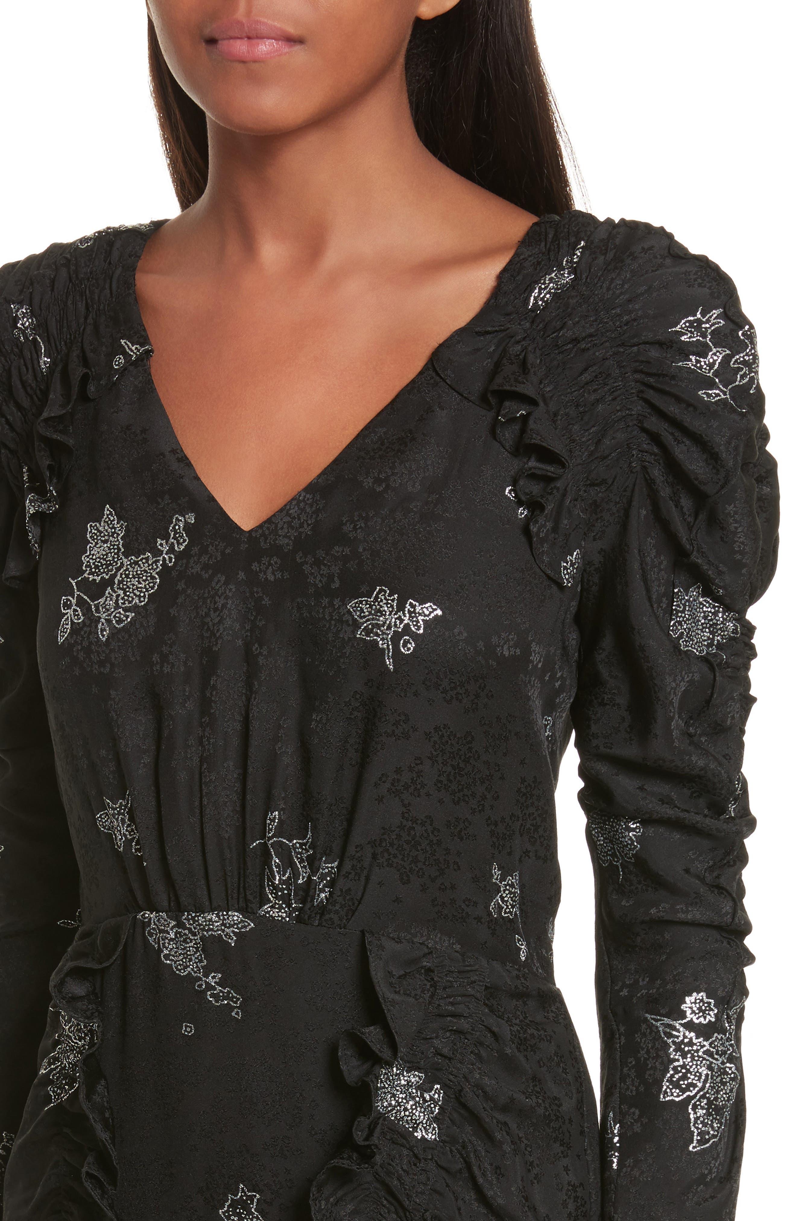 Glitter Jacquard Silk Dress,                             Alternate thumbnail 4, color,                             010
