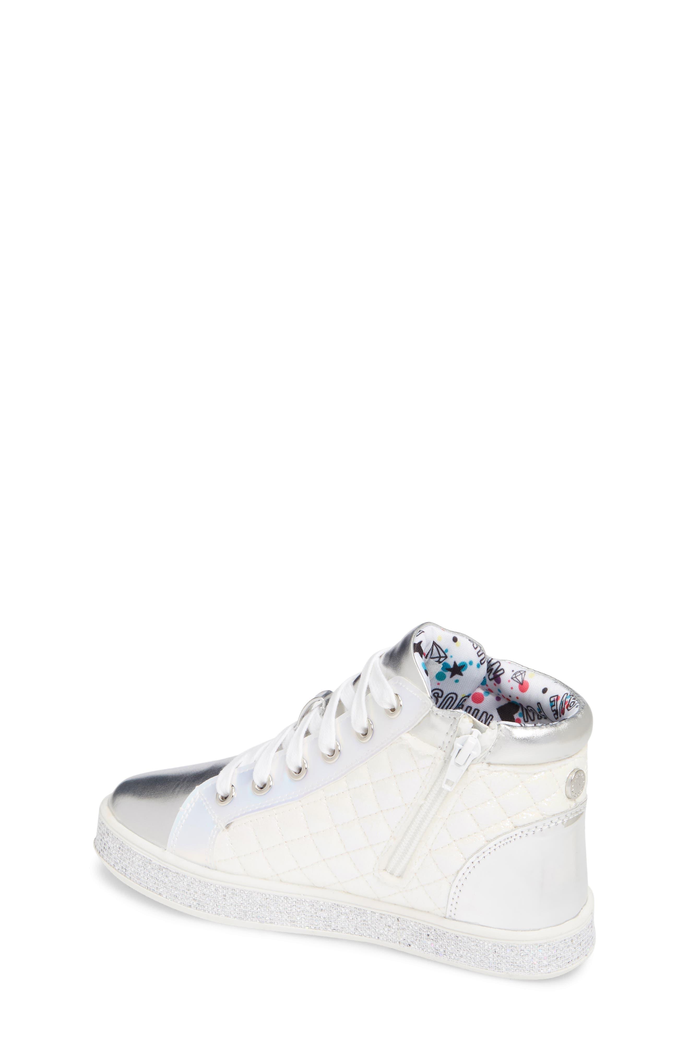 Glittery High Top Sneaker,                             Alternate thumbnail 2, color,                             WHITE