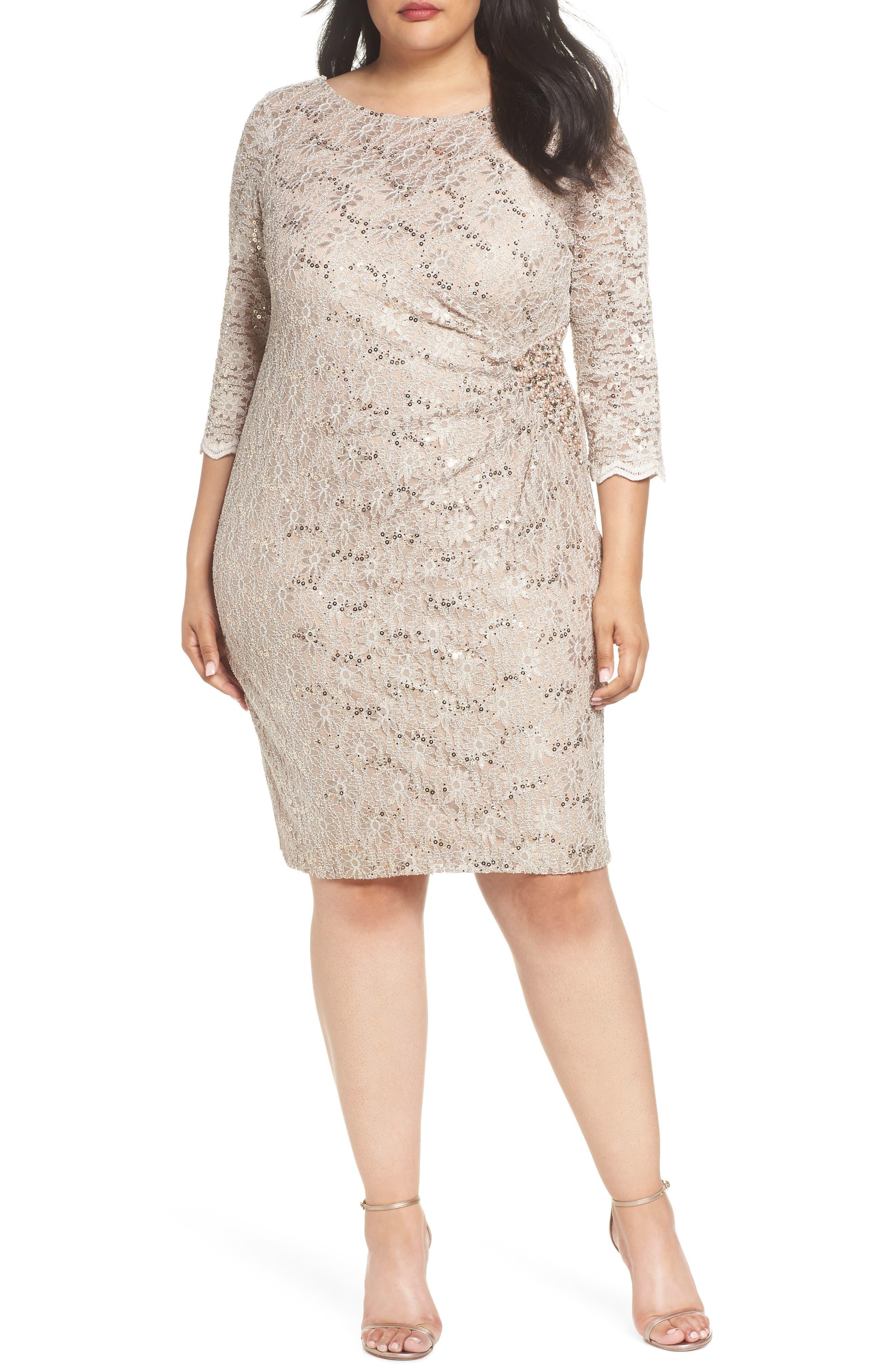 Embellished Illusion Lace Shift Dress,                         Main,                         color, 250