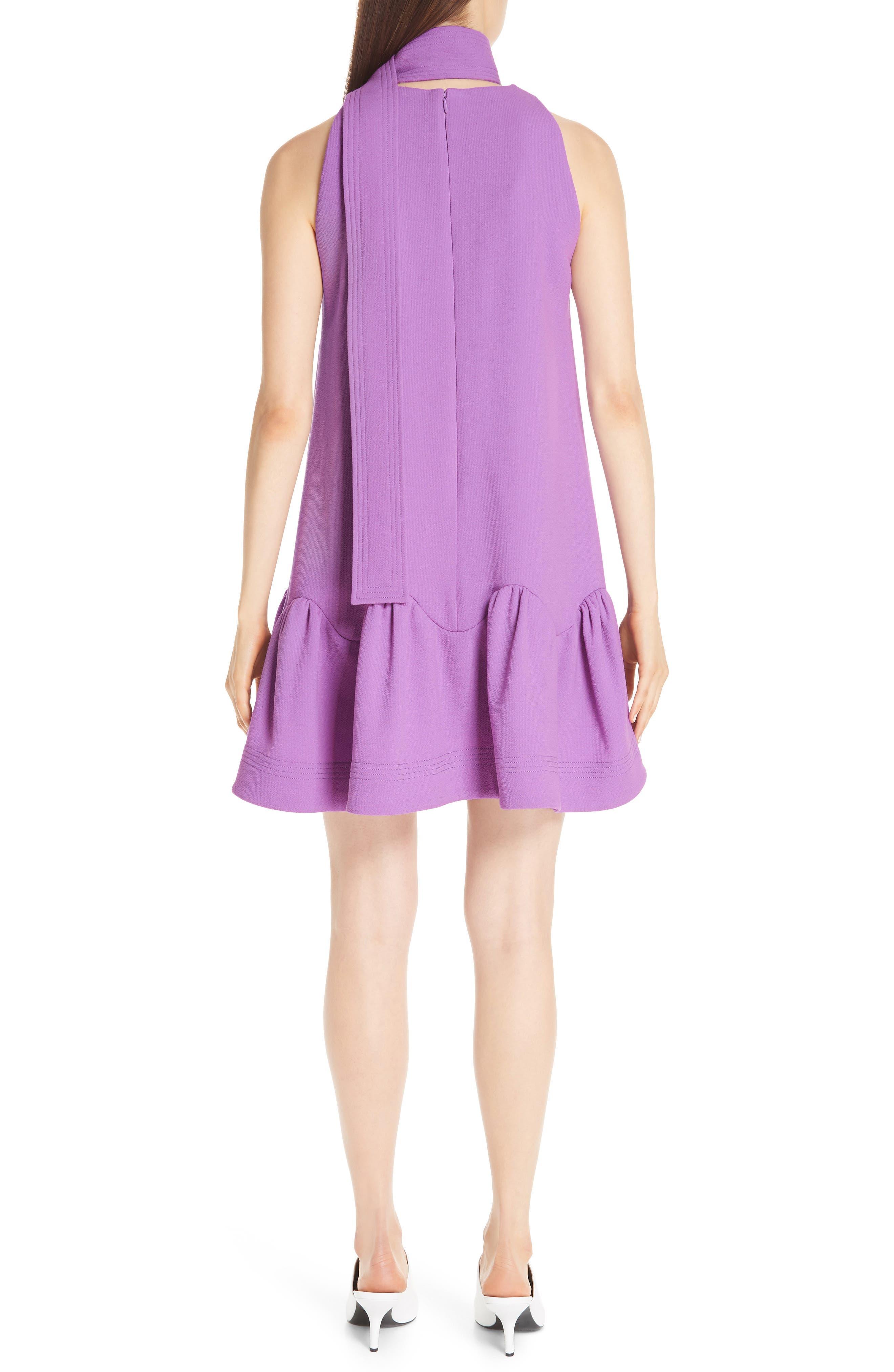 Scarf Neck Wool Blend Crepe Drop Waist Dress,                             Alternate thumbnail 2, color,                             LAVENDER