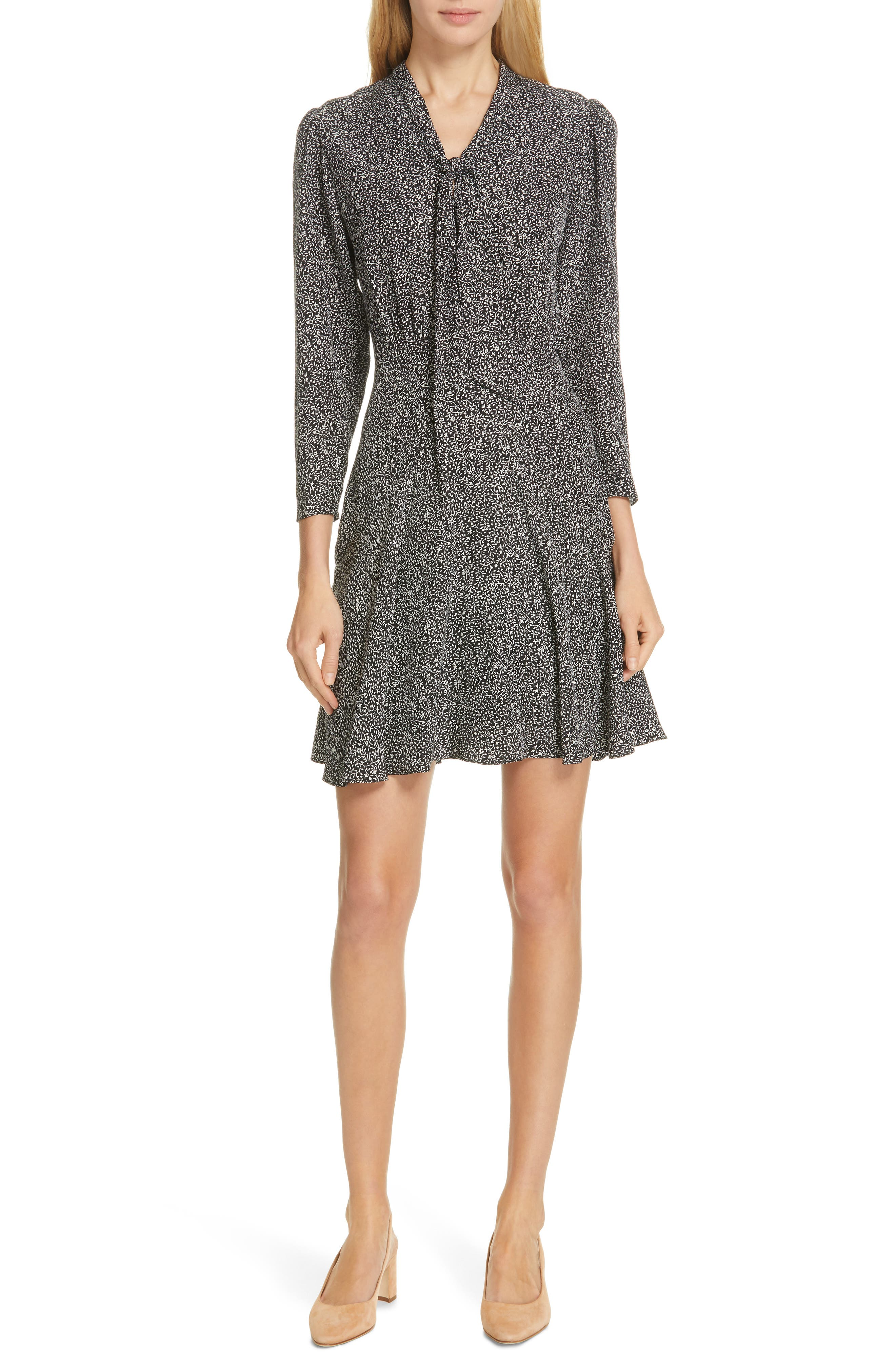 Tailored By Rebecca Taylor Tie Neck Silk Dress, Black