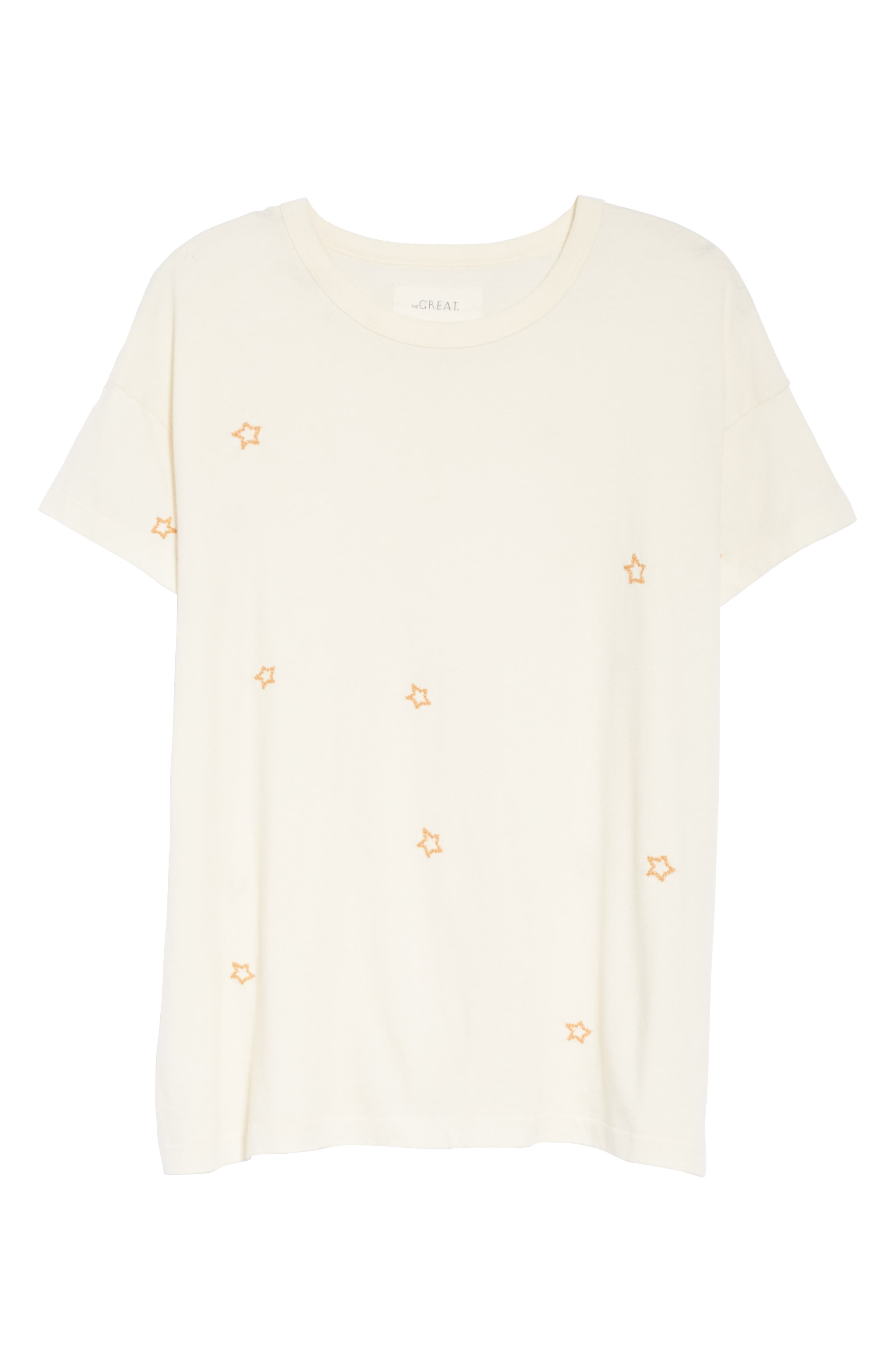 The Embroidered Boxy Crew Tee,                             Alternate thumbnail 6, color,                             WASHED WHITE W/ STAR EMB