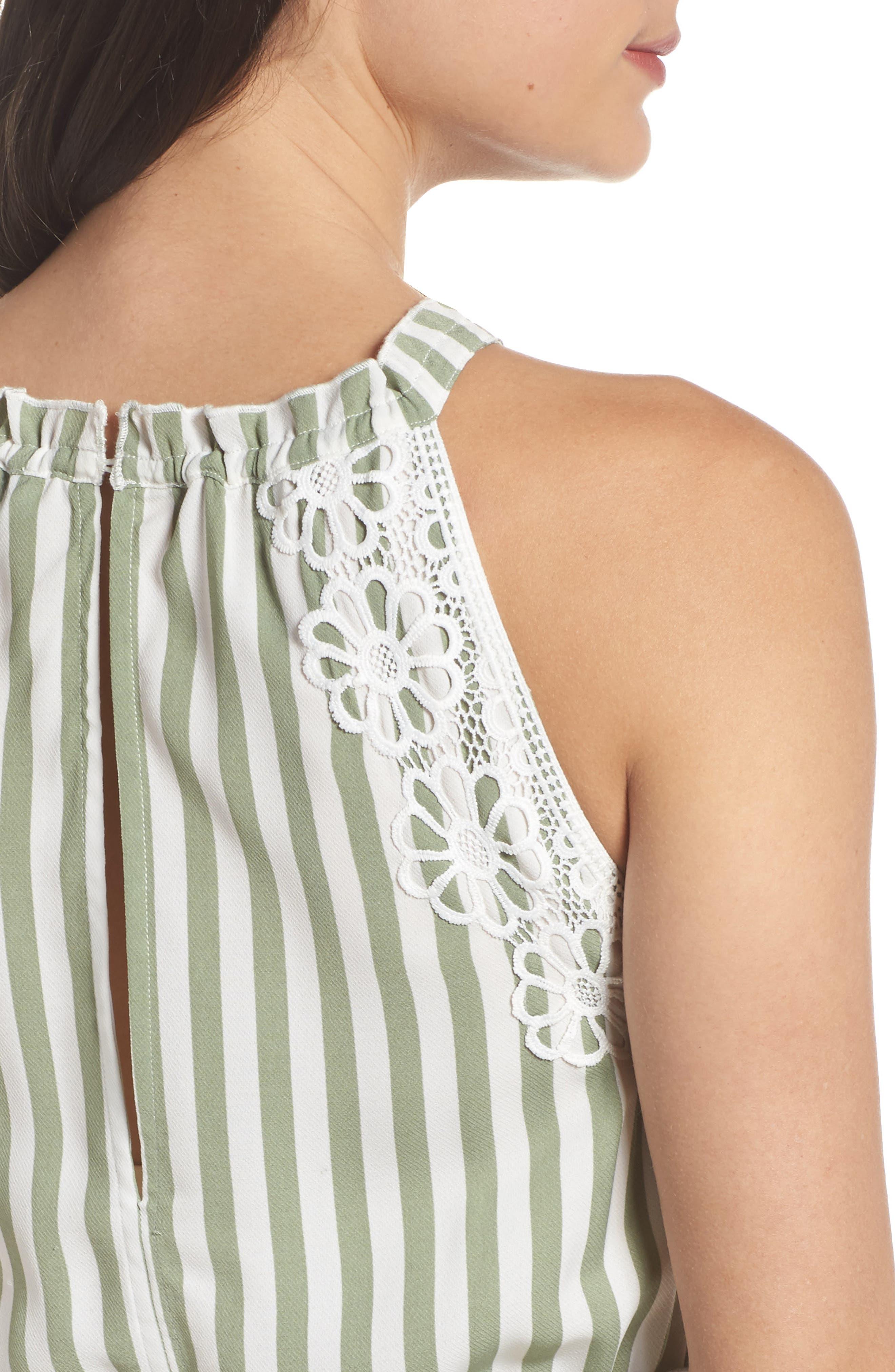 Lauren Stripe Sleeveless Fit & Flare Dress,                             Alternate thumbnail 4, color,                             341