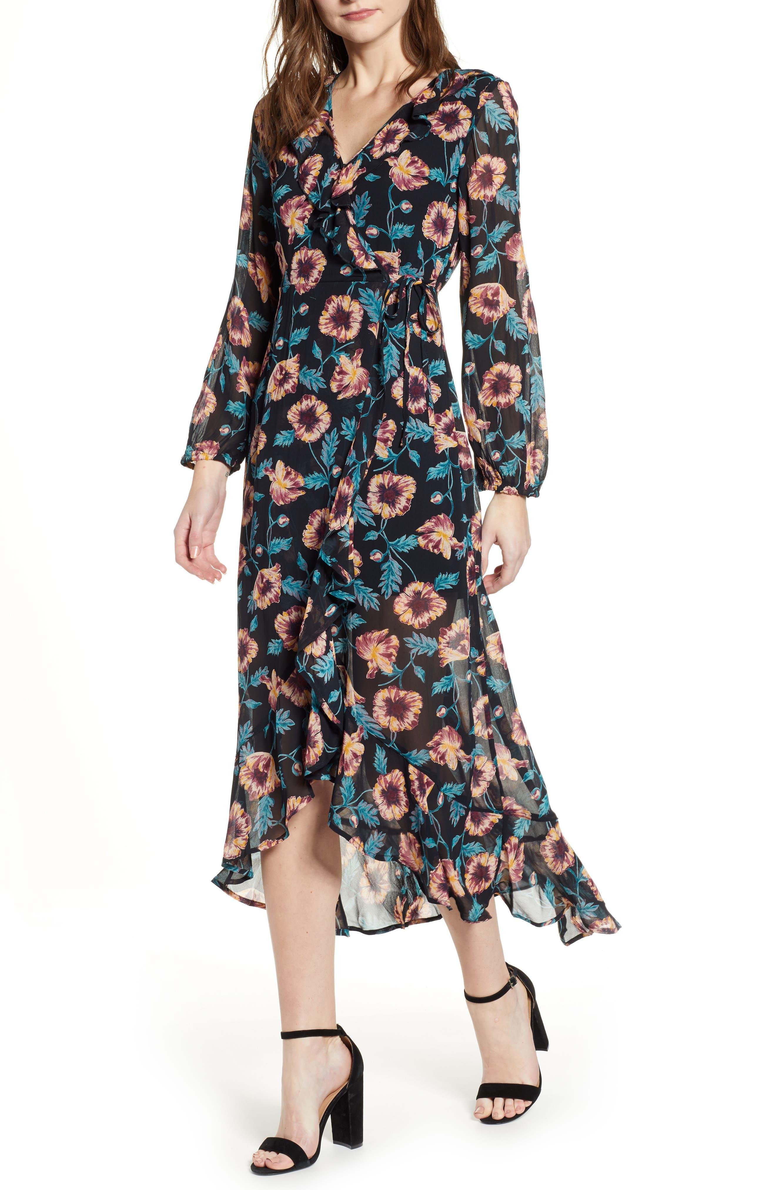 BAND OF GYPSIES Reese Floral Print Midi Dress in Black/ Crimson