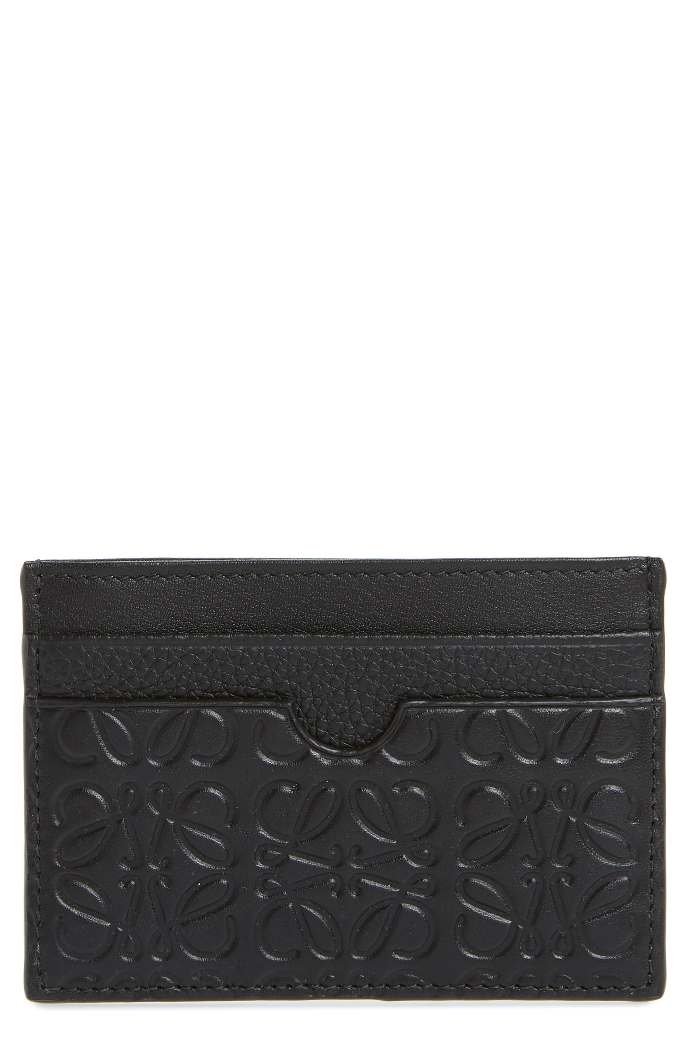 Puzzle Leather Card Case,                             Main thumbnail 1, color,                             BLACK