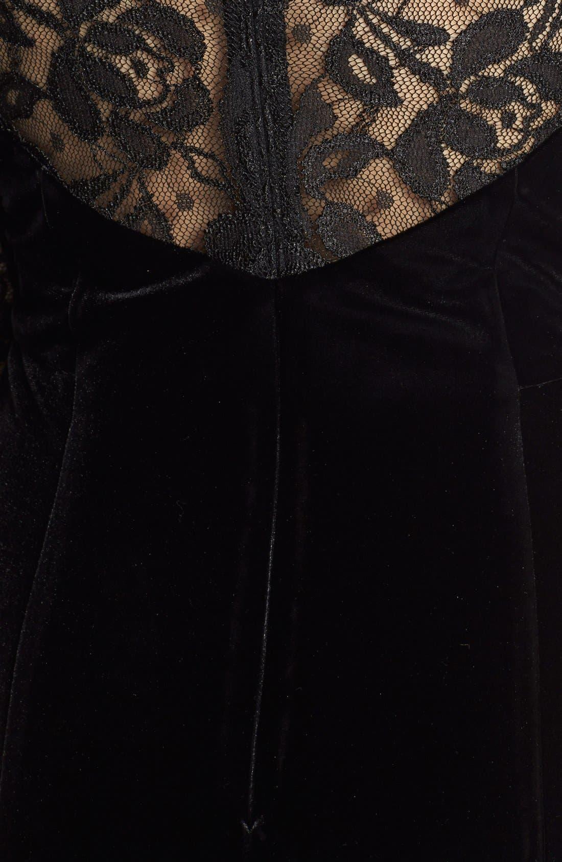 Lace & Velvet Sheath Dress,                             Alternate thumbnail 8, color,                             BLACK