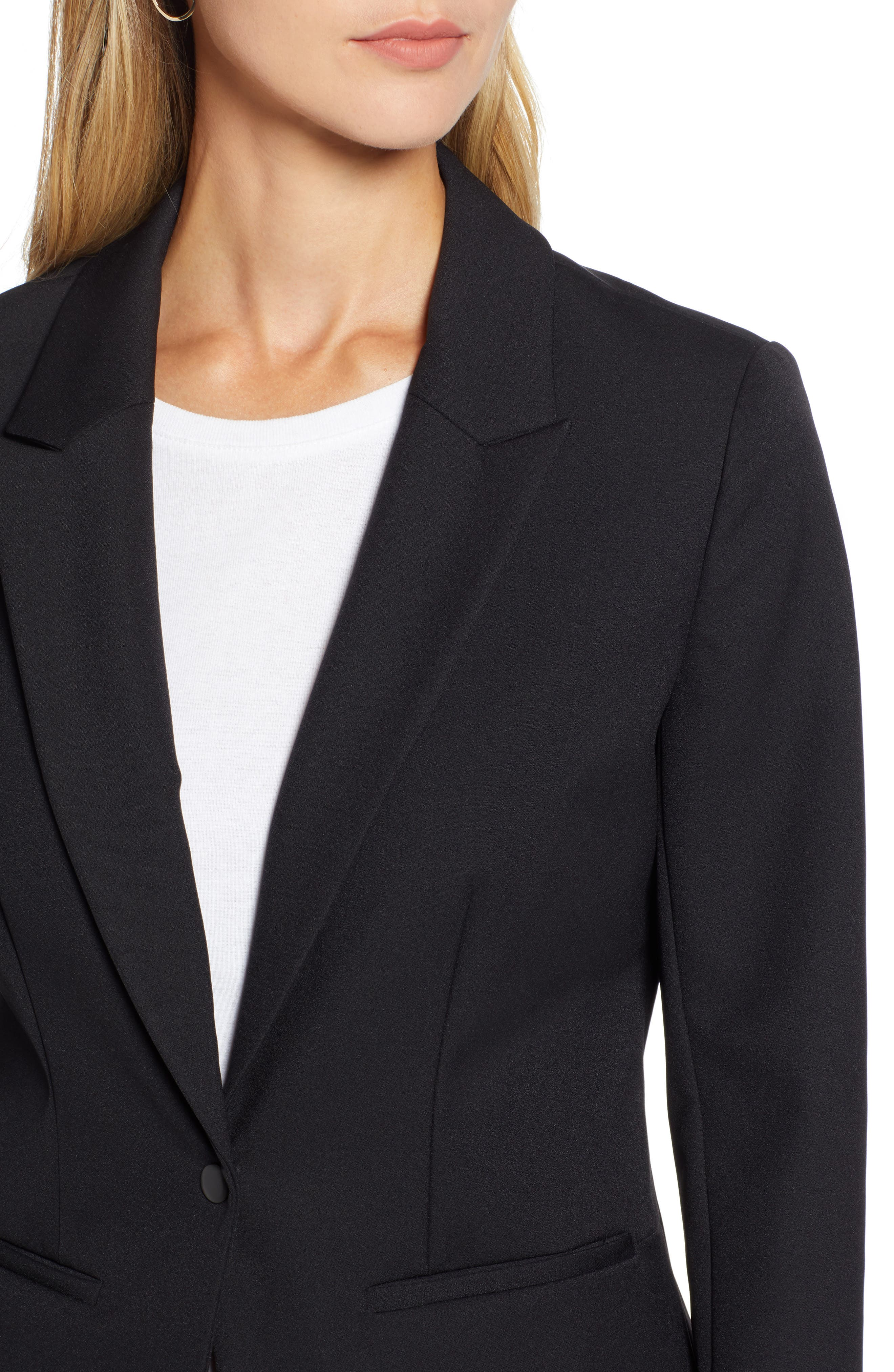 Fitted Blazer,                             Alternate thumbnail 4, color,                             001