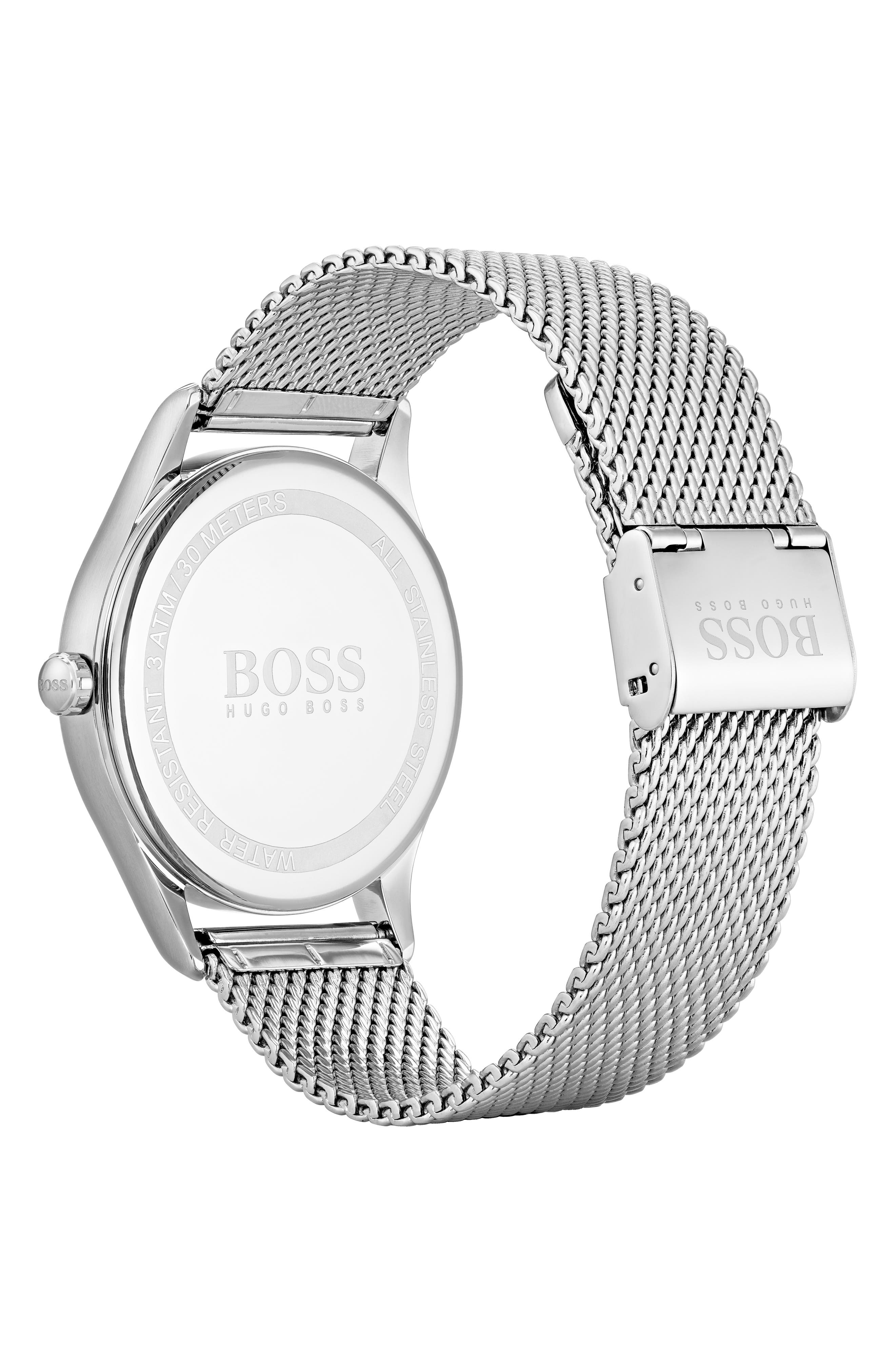 Talent Mesh Strap Watch, 44mm,                             Alternate thumbnail 2, color,                             BLACK/ STAINLESS