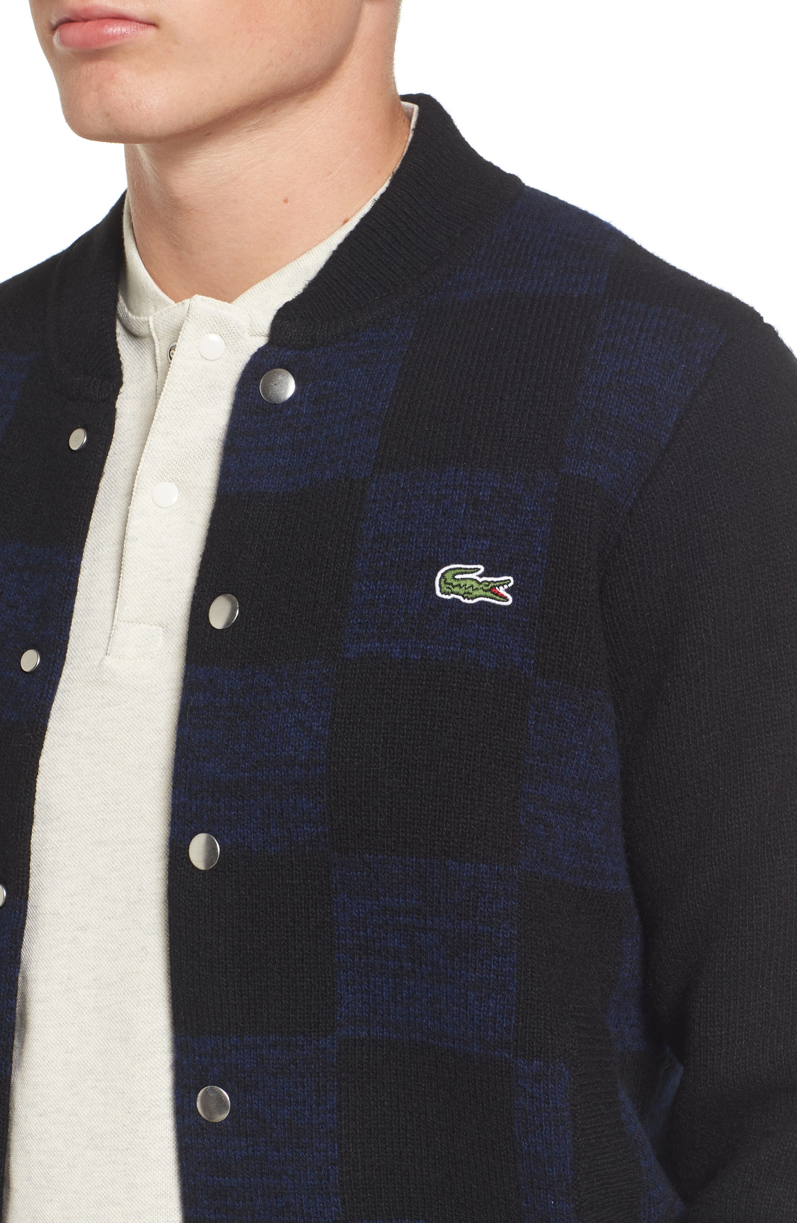 Double Face Check Sweater Jacket,                             Alternate thumbnail 4, color,                             006