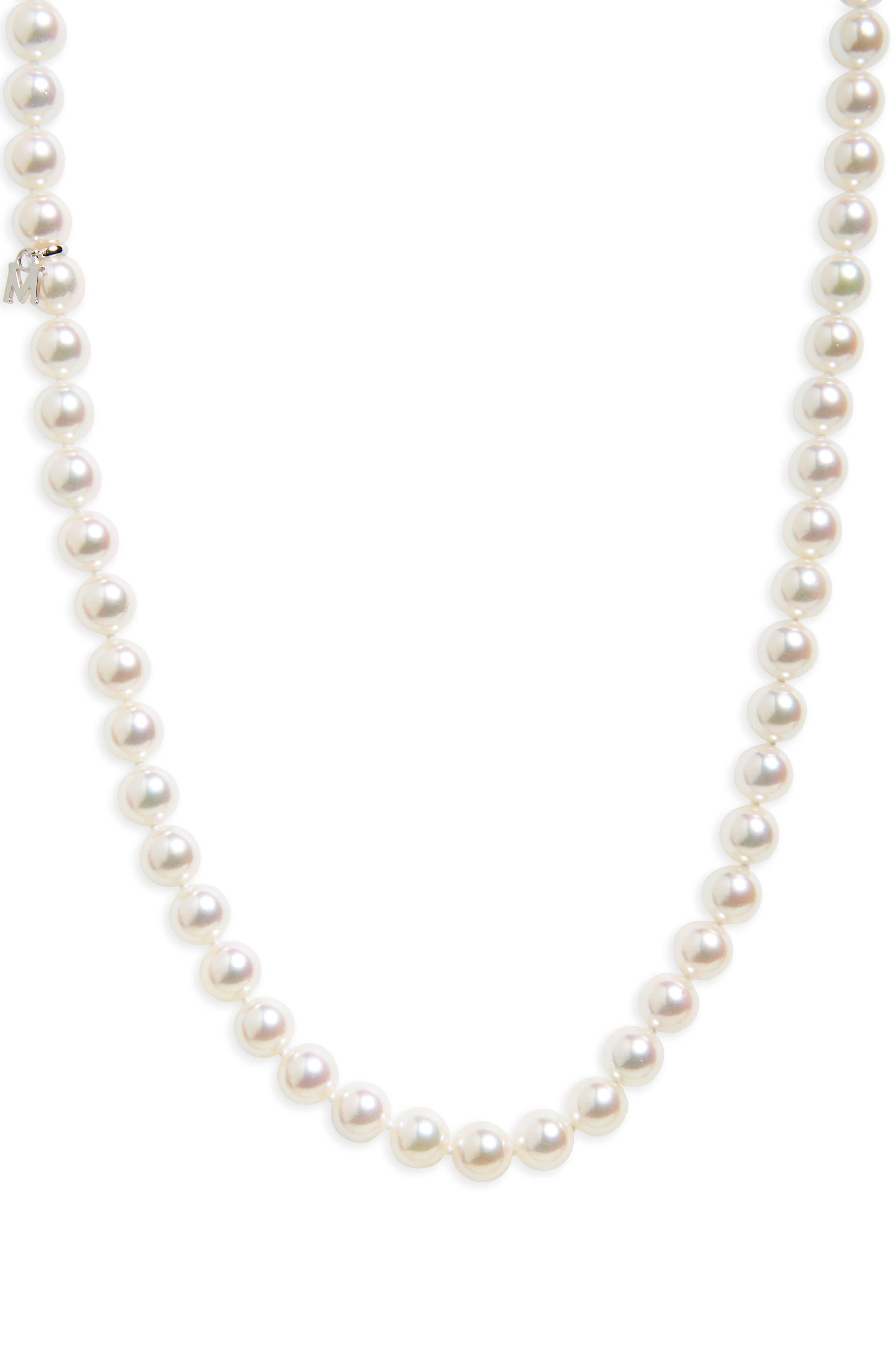 Every Essentials Cultured Pearl Strand Necklace,                             Main thumbnail 1, color,                             WHITE GOLD