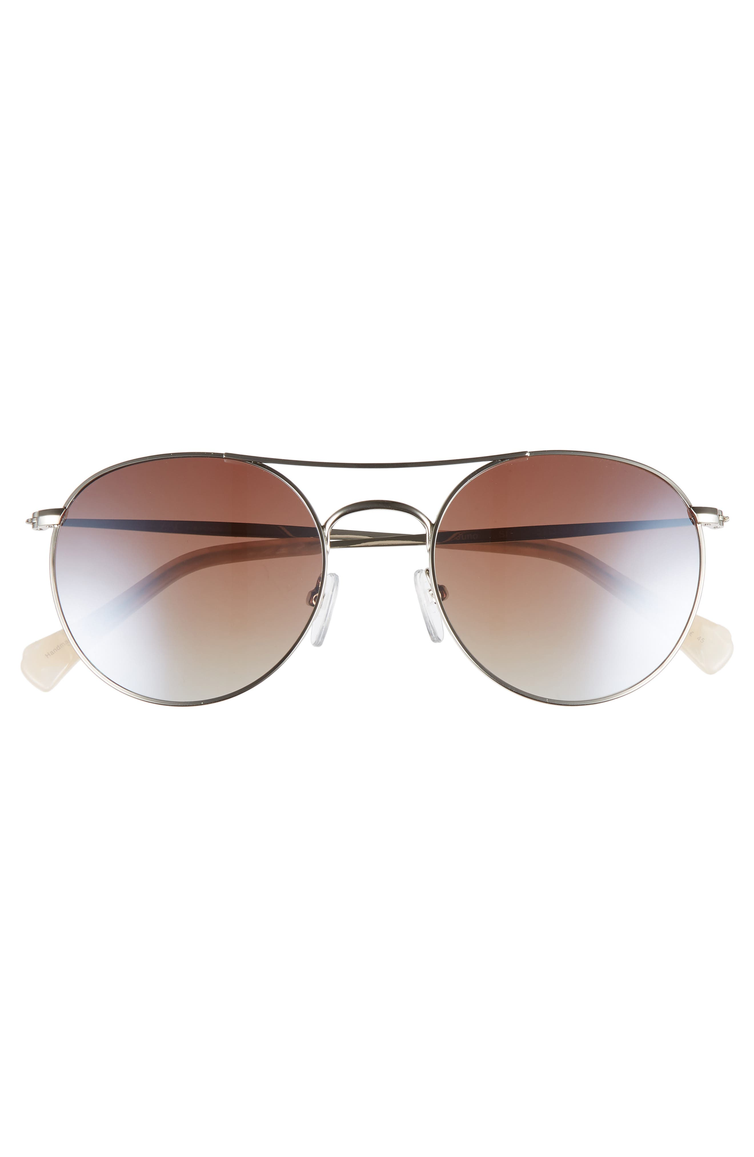 Juno 52mm Polarized Metal Aviator Sunglasses,                             Alternate thumbnail 3, color,                             SILVER POLAR/ BROWN