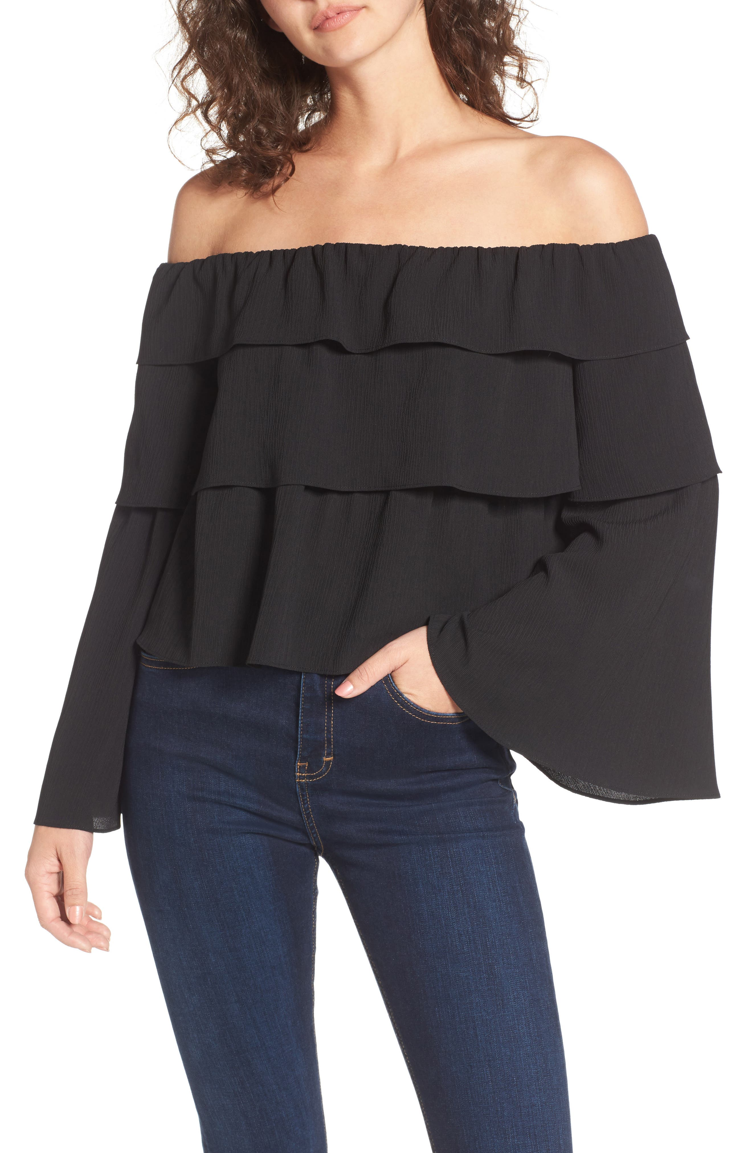 Ruffle Off the Shoulder Top,                         Main,                         color, 001