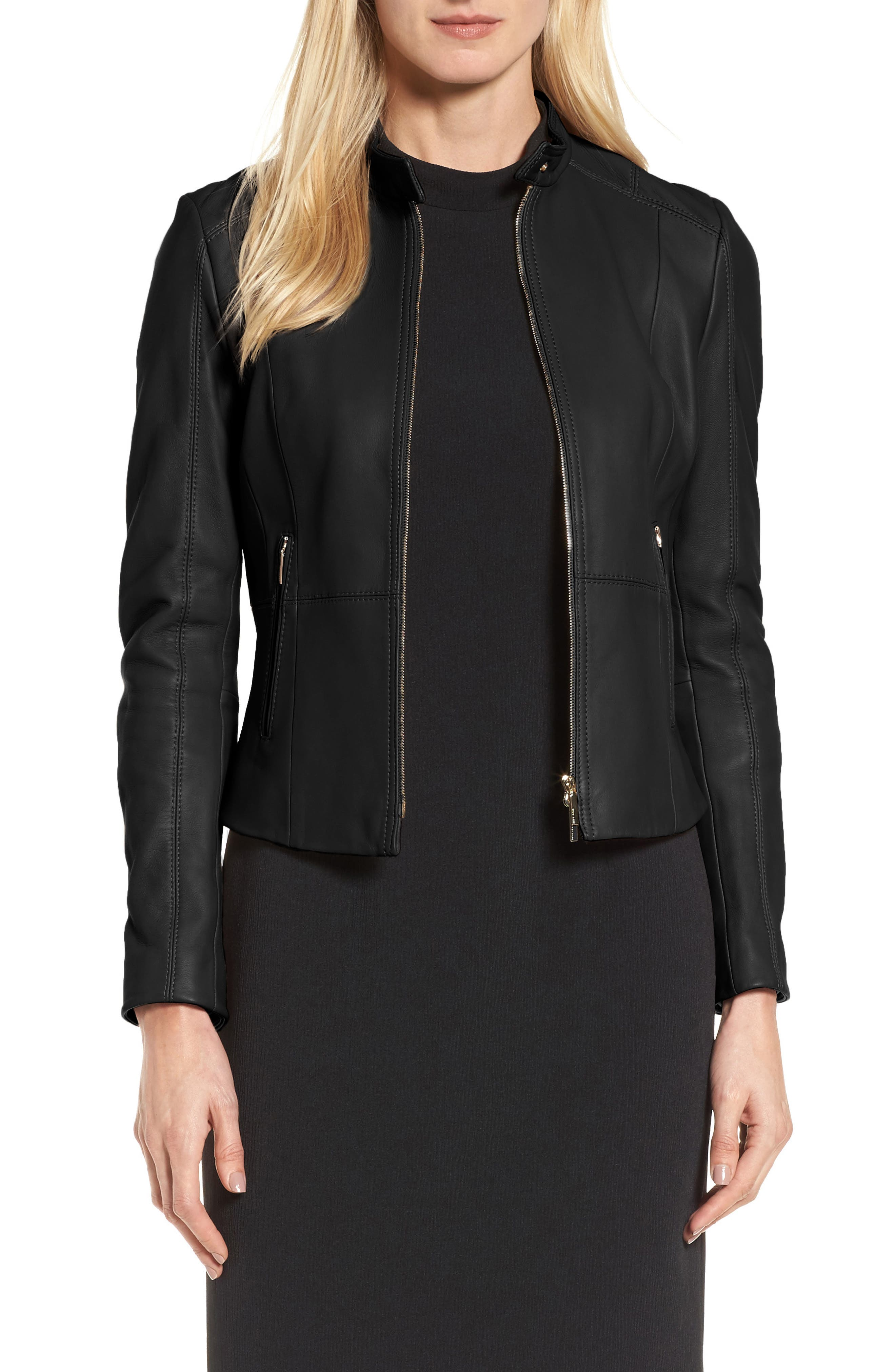 Sammonaie Leather Jacket,                         Main,                         color, 001