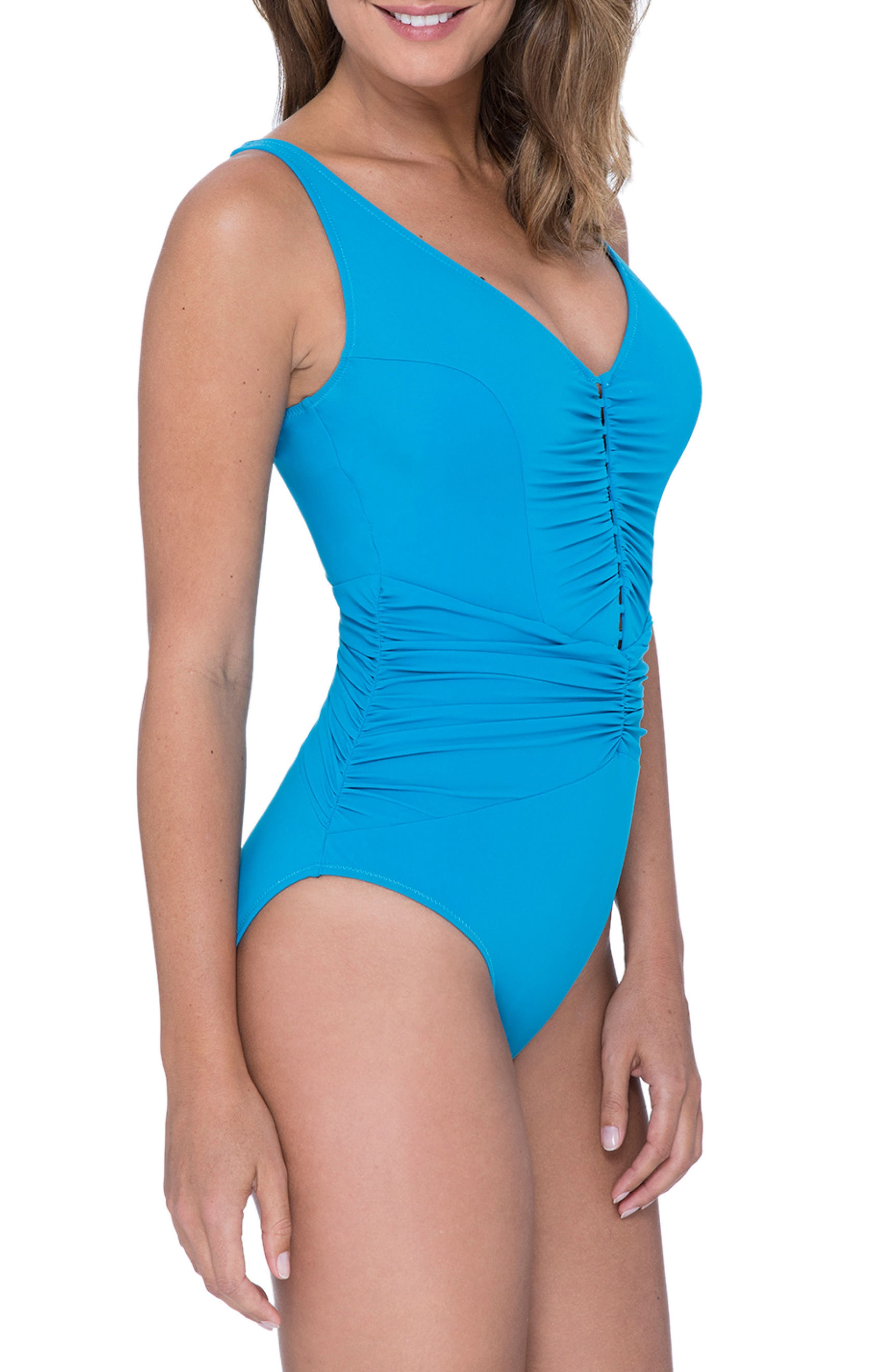 Cocktail Party One-Piece Swimsuit,                             Alternate thumbnail 3, color,                             PEACOCK