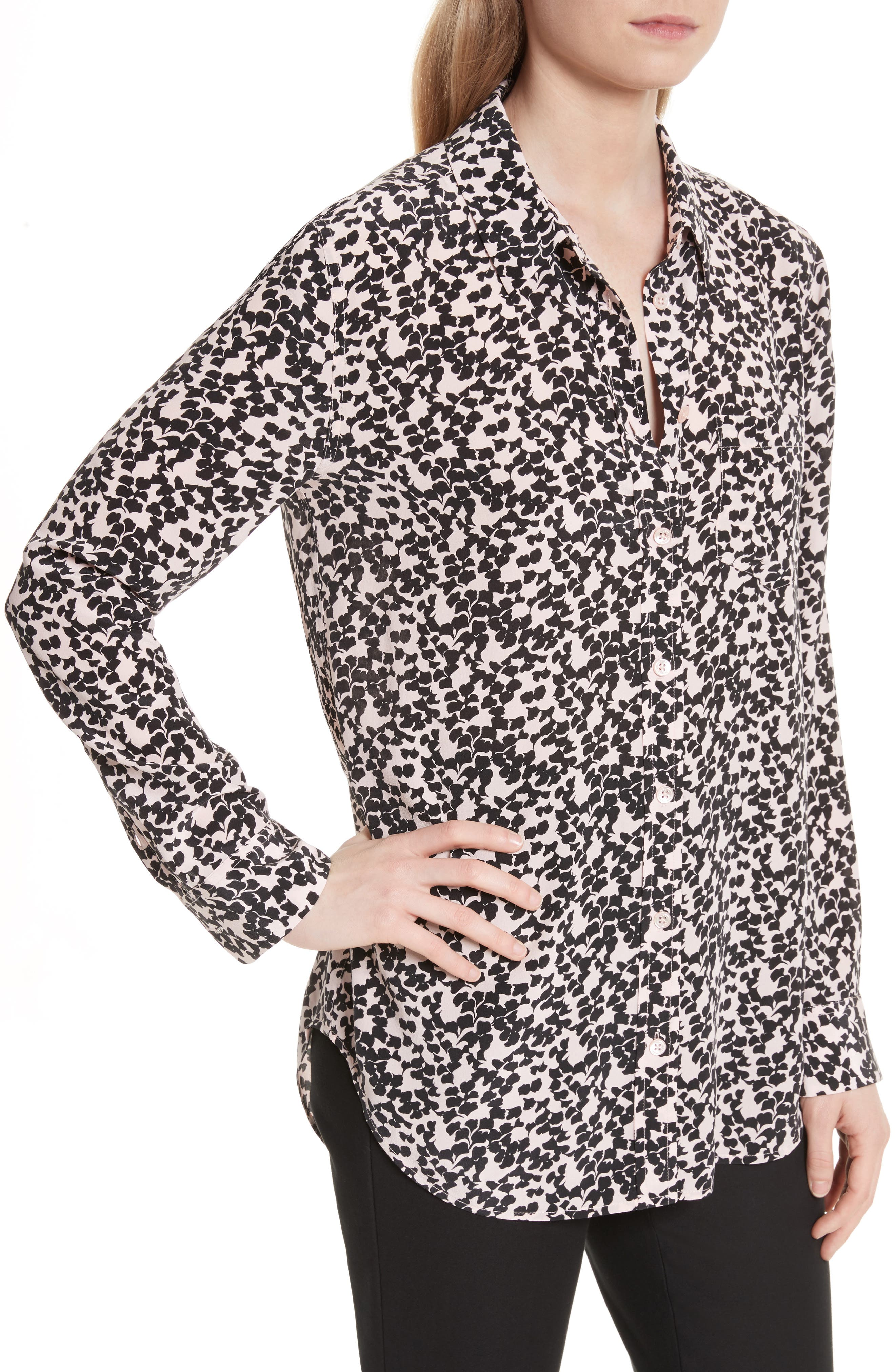 Reese Print Silk Shirt,                             Alternate thumbnail 4, color,                             691