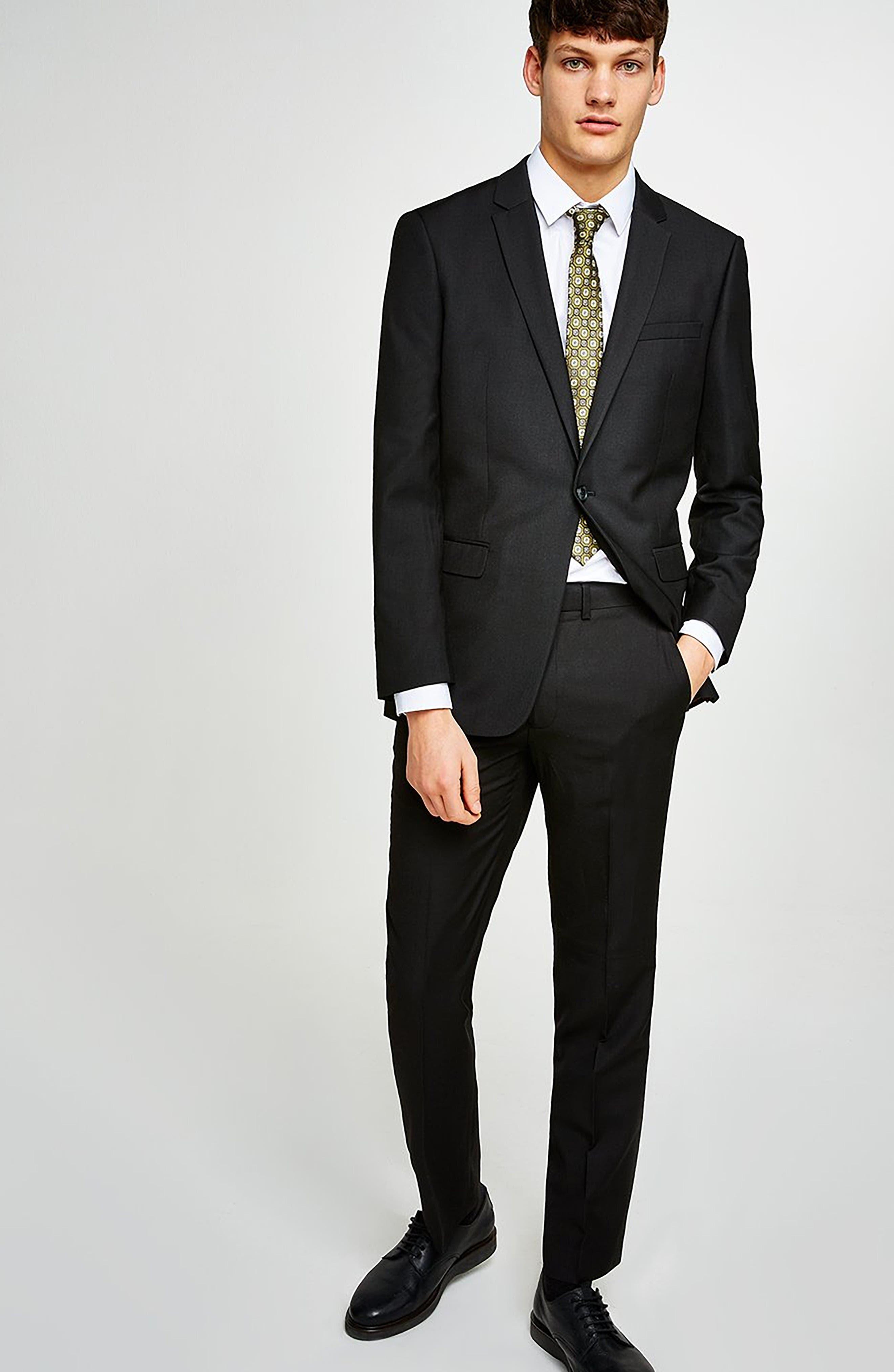 Slim Fit Suit Trousers,                             Alternate thumbnail 5, color,                             BLACK