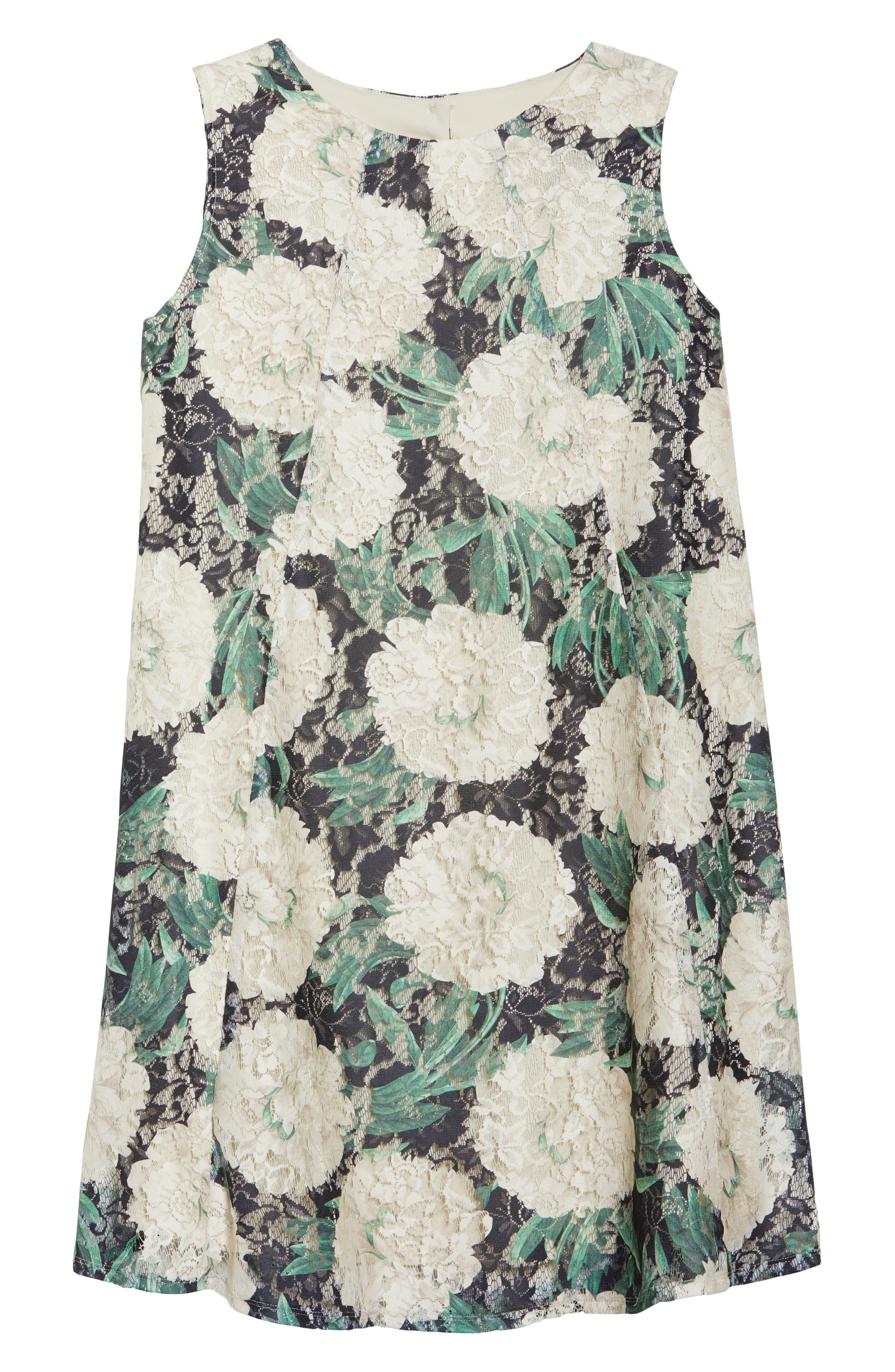 Print Lace Trapeze Dress,                             Alternate thumbnail 6, color,                             001