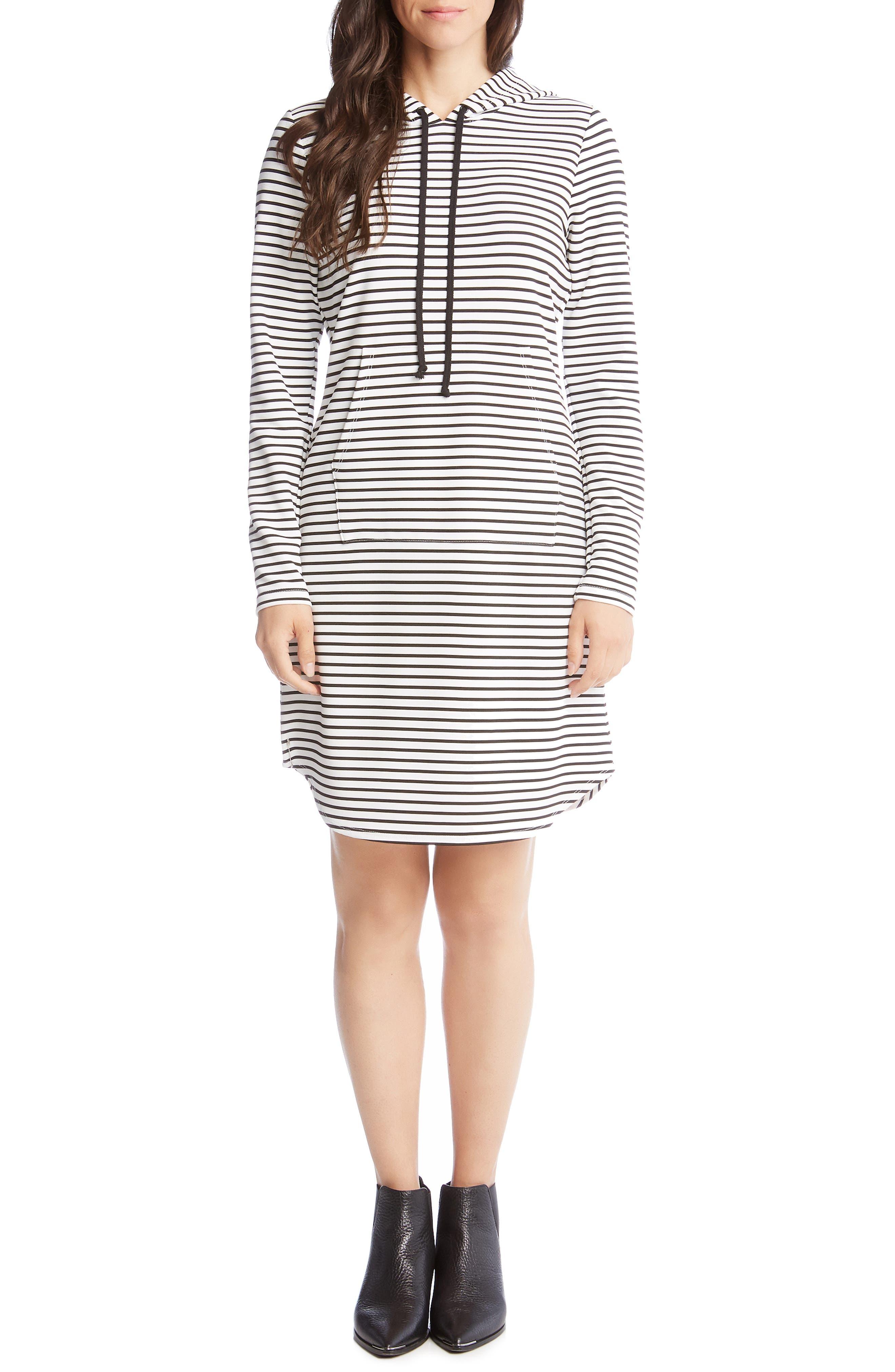 Karen Kane Stripe Hooded Dress, White