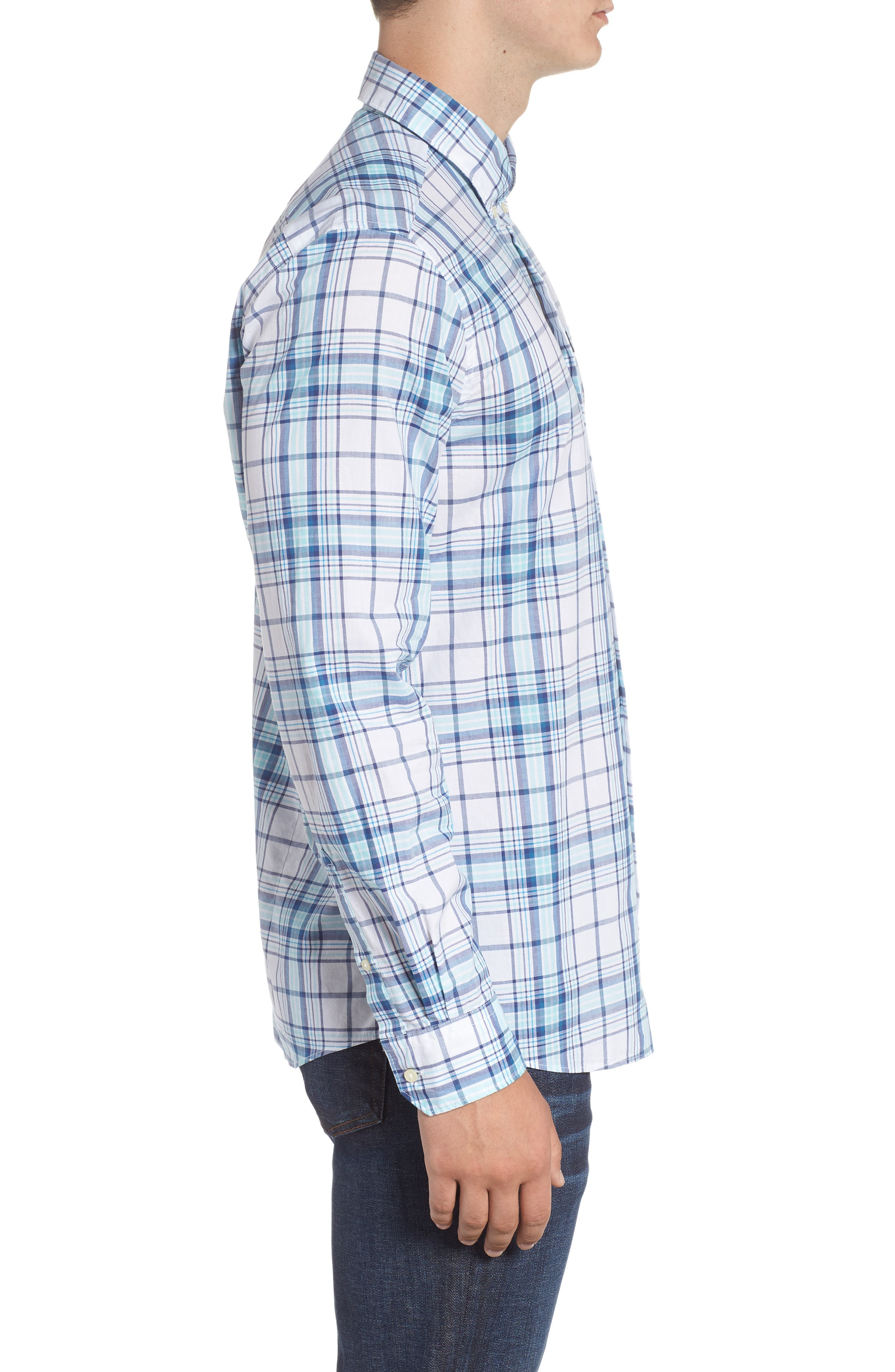 Christopher Tailored Fit Plaid Sport Shirt,                             Alternate thumbnail 4, color,                             440