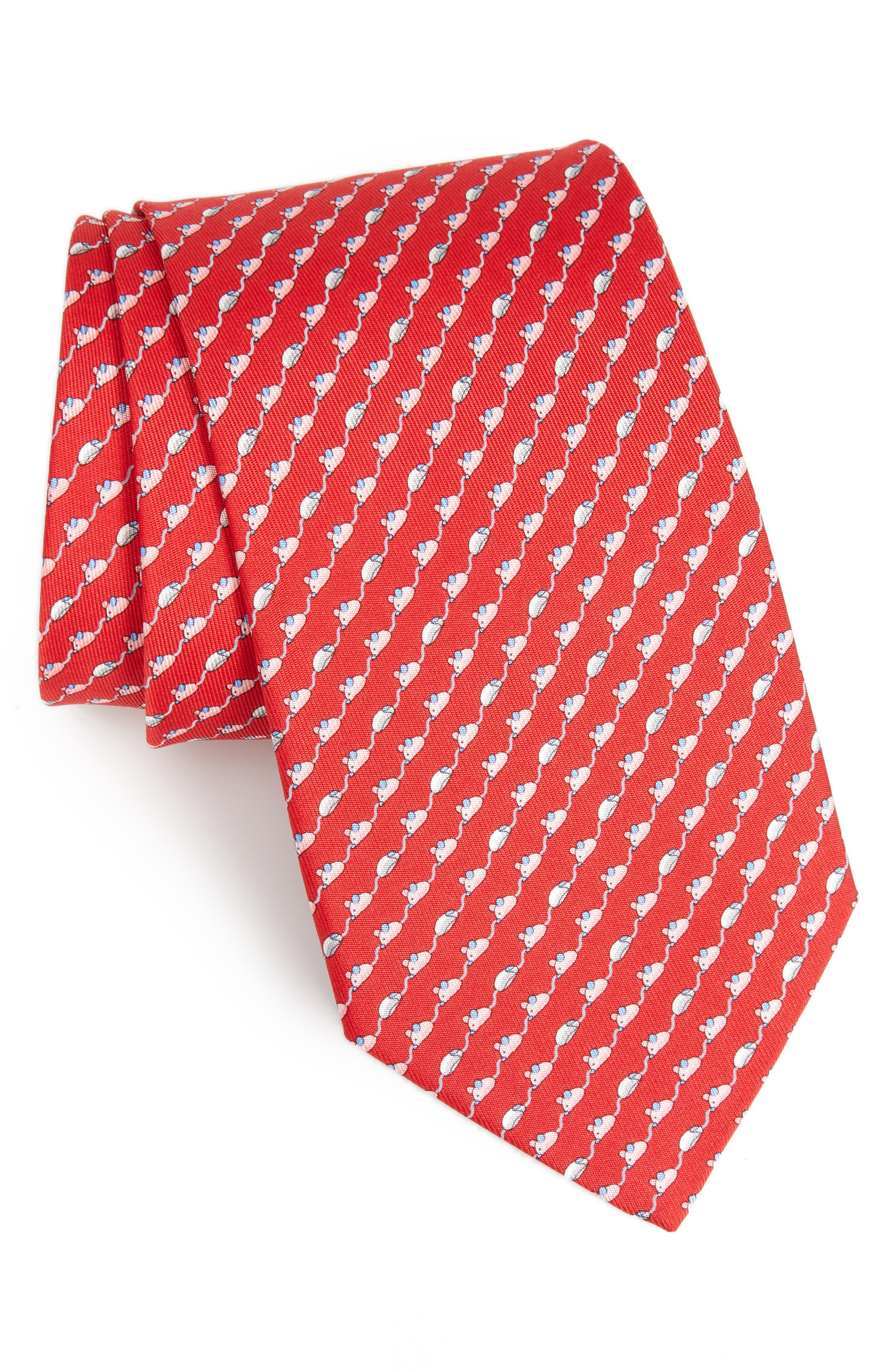 Mouse Print Silk Tie,                         Main,                         color, RED