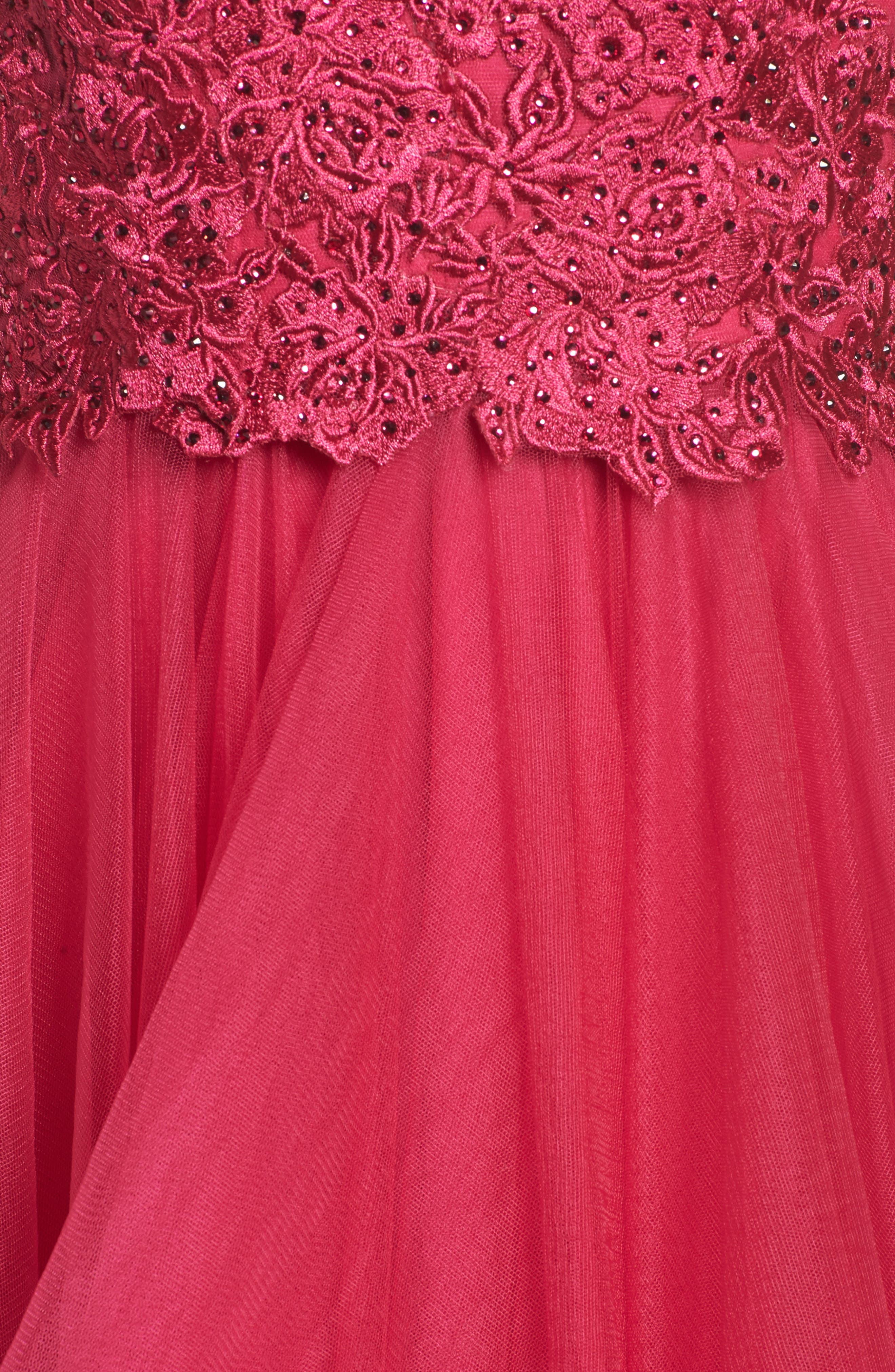 Lace & Tiered Tulle Ballgown,                             Alternate thumbnail 5, color,                             HOT FUCHSIA