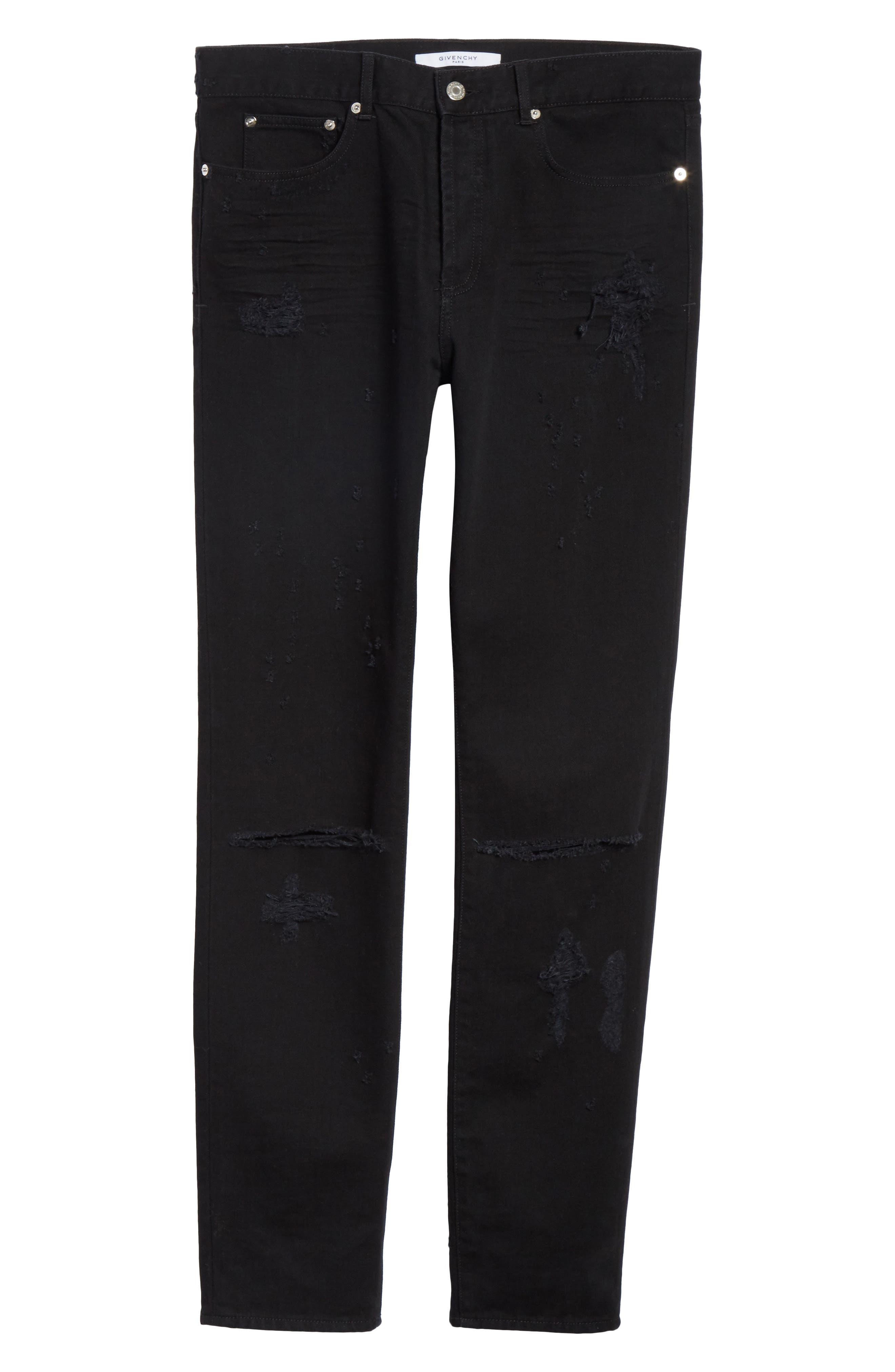 Destroyed Slim Fit Jeans,                             Alternate thumbnail 6, color,                             001