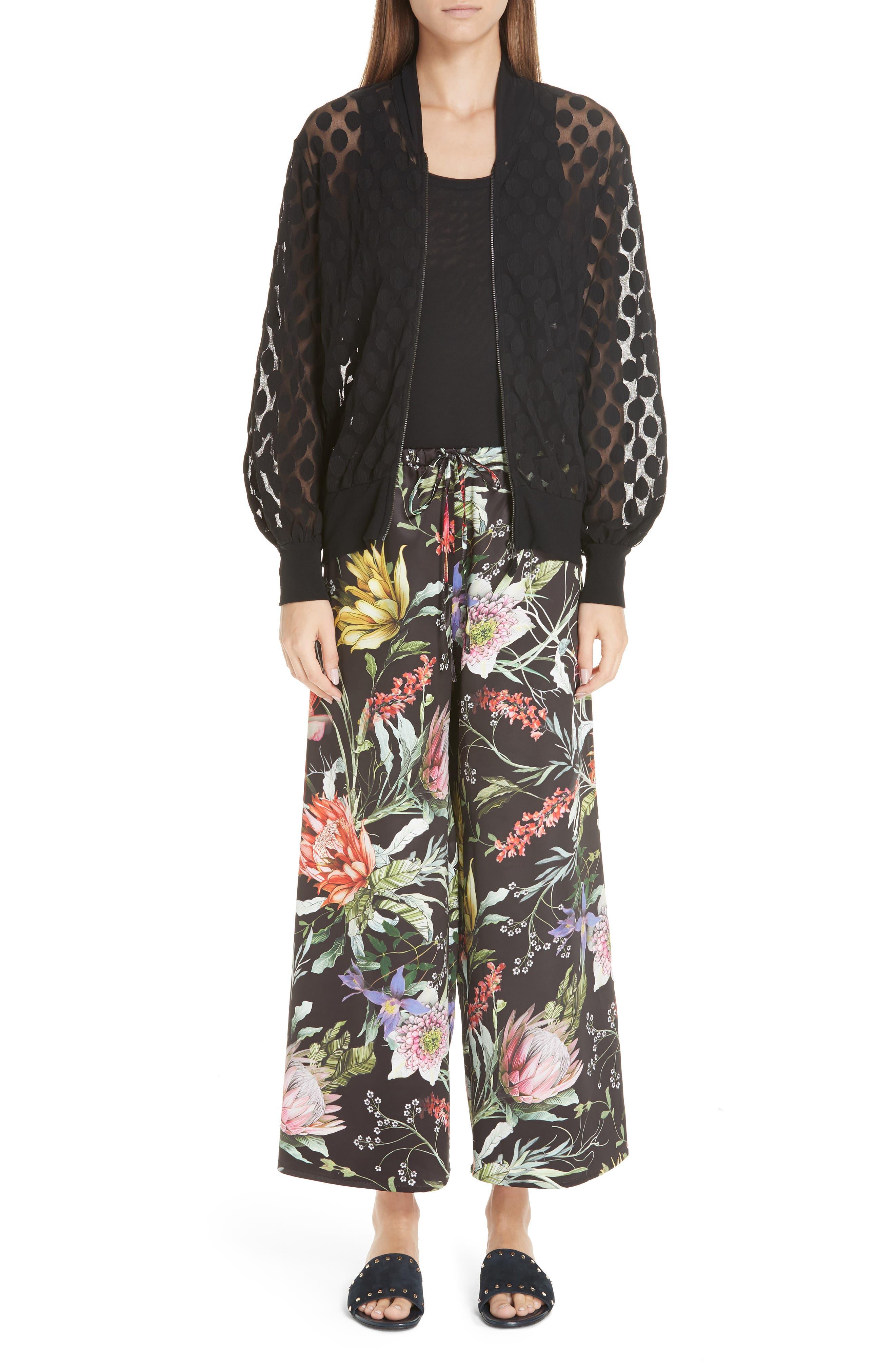 Floral Crop Wide Leg Pants,                             Main thumbnail 1, color,                             NERO