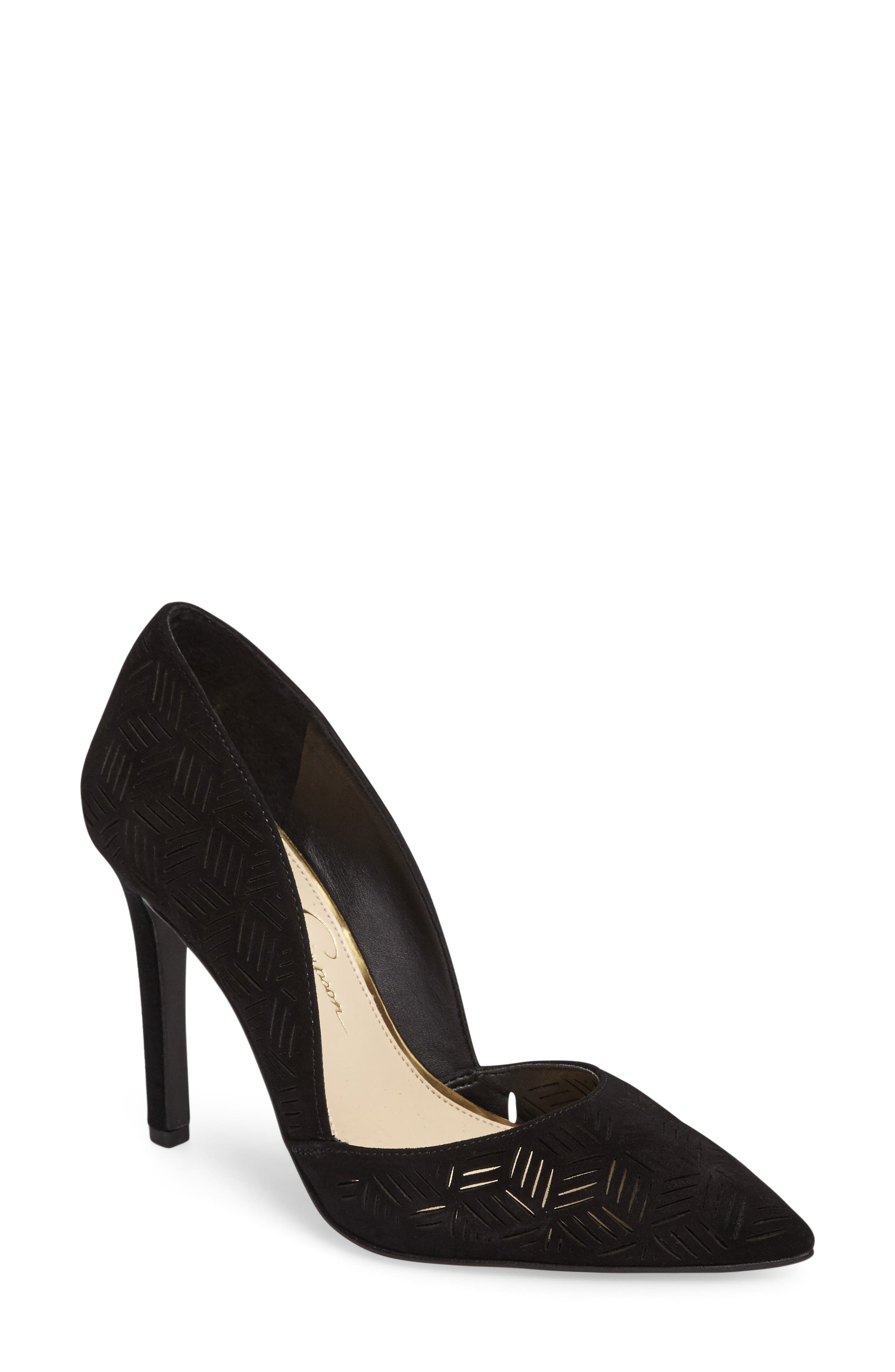Charie Pointy Toe d'Orsay Pump,                             Main thumbnail 1, color,                             001