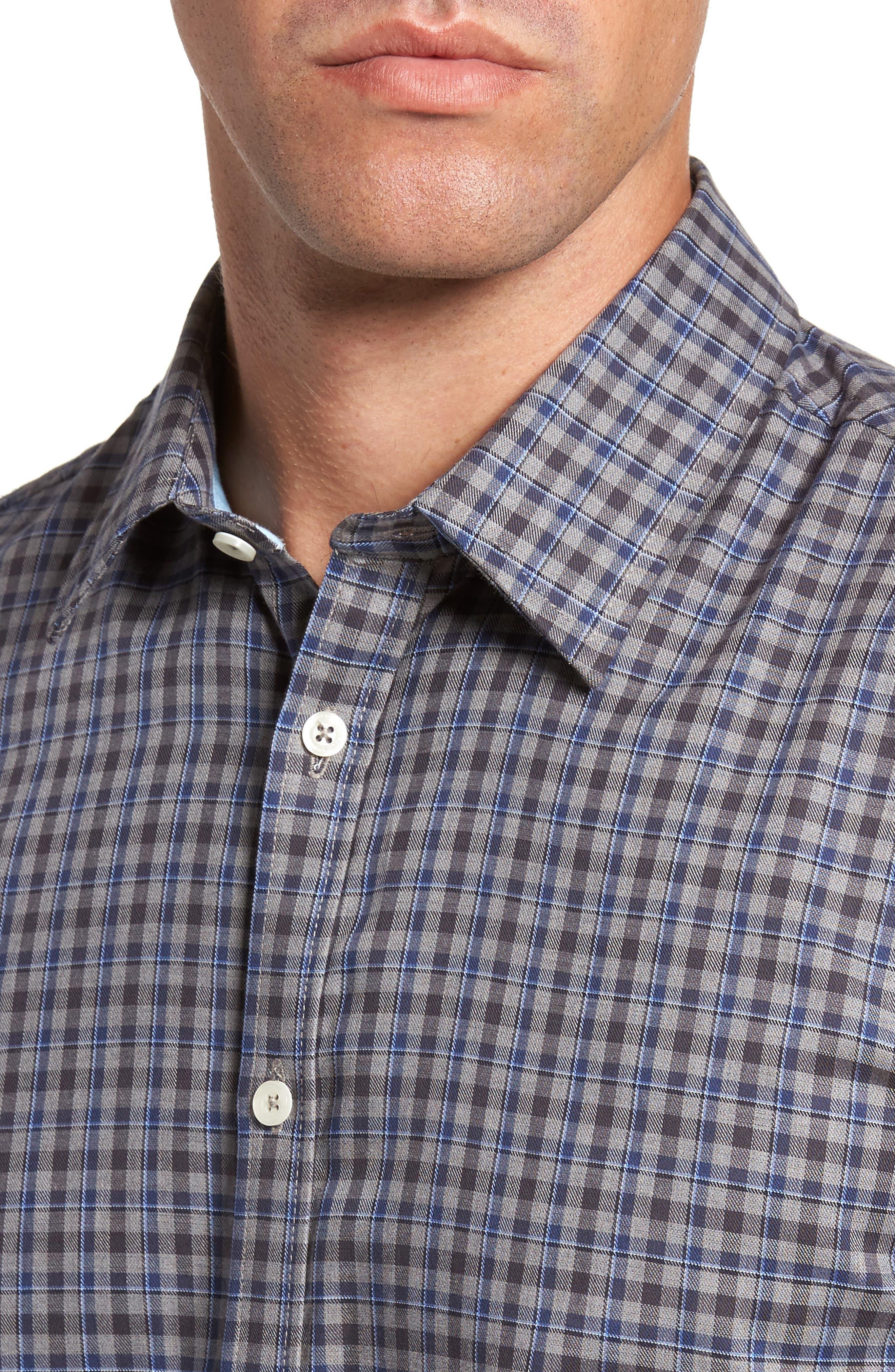 Comfort Fit Plaid Sport Shirt,                             Alternate thumbnail 4, color,