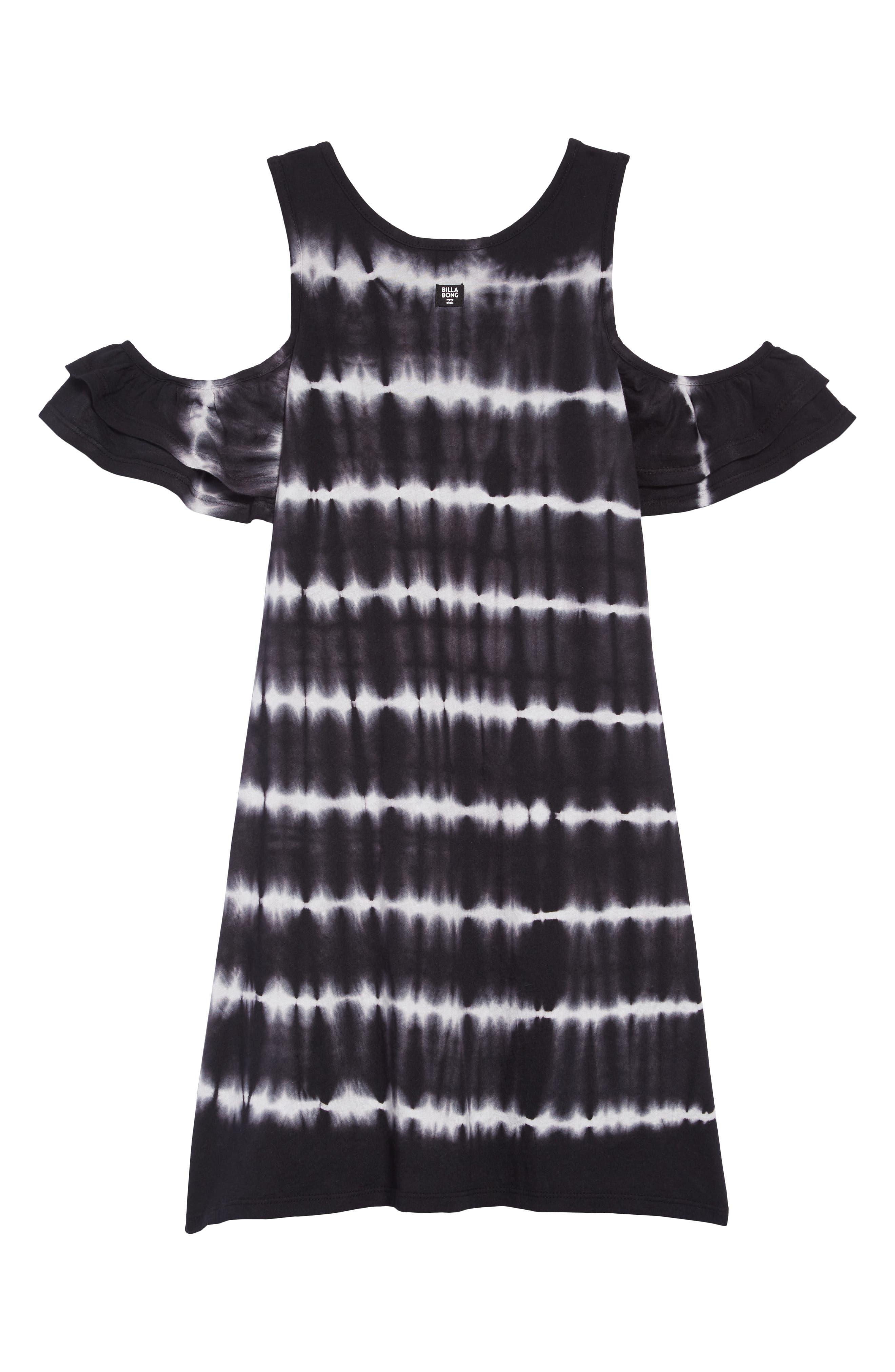 Chasing Waves Cold Shoulder Dress,                             Alternate thumbnail 2, color,                             BLACK