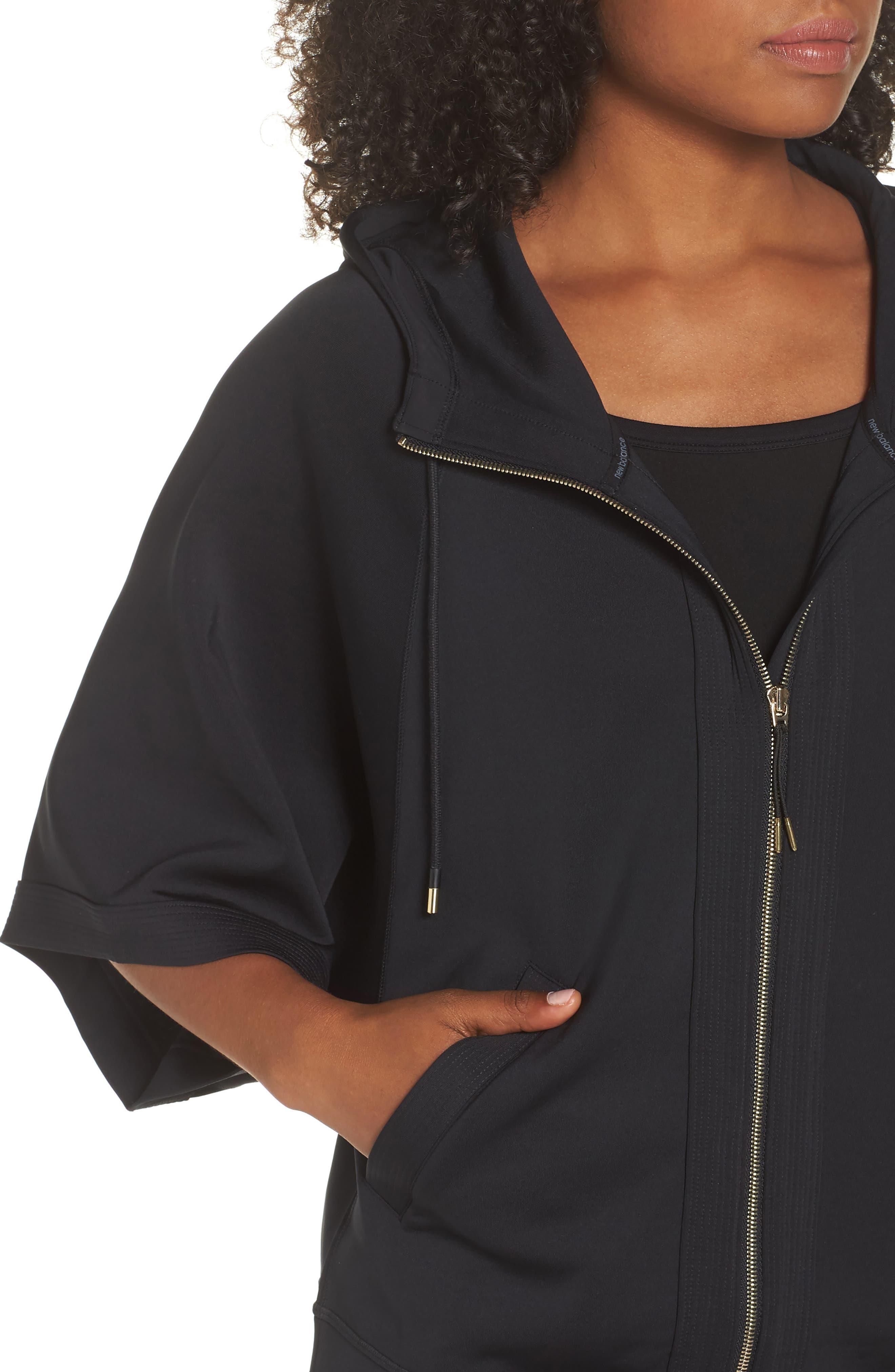 Captivate Kimono Sweatshirt,                             Alternate thumbnail 4, color,                             BLACK