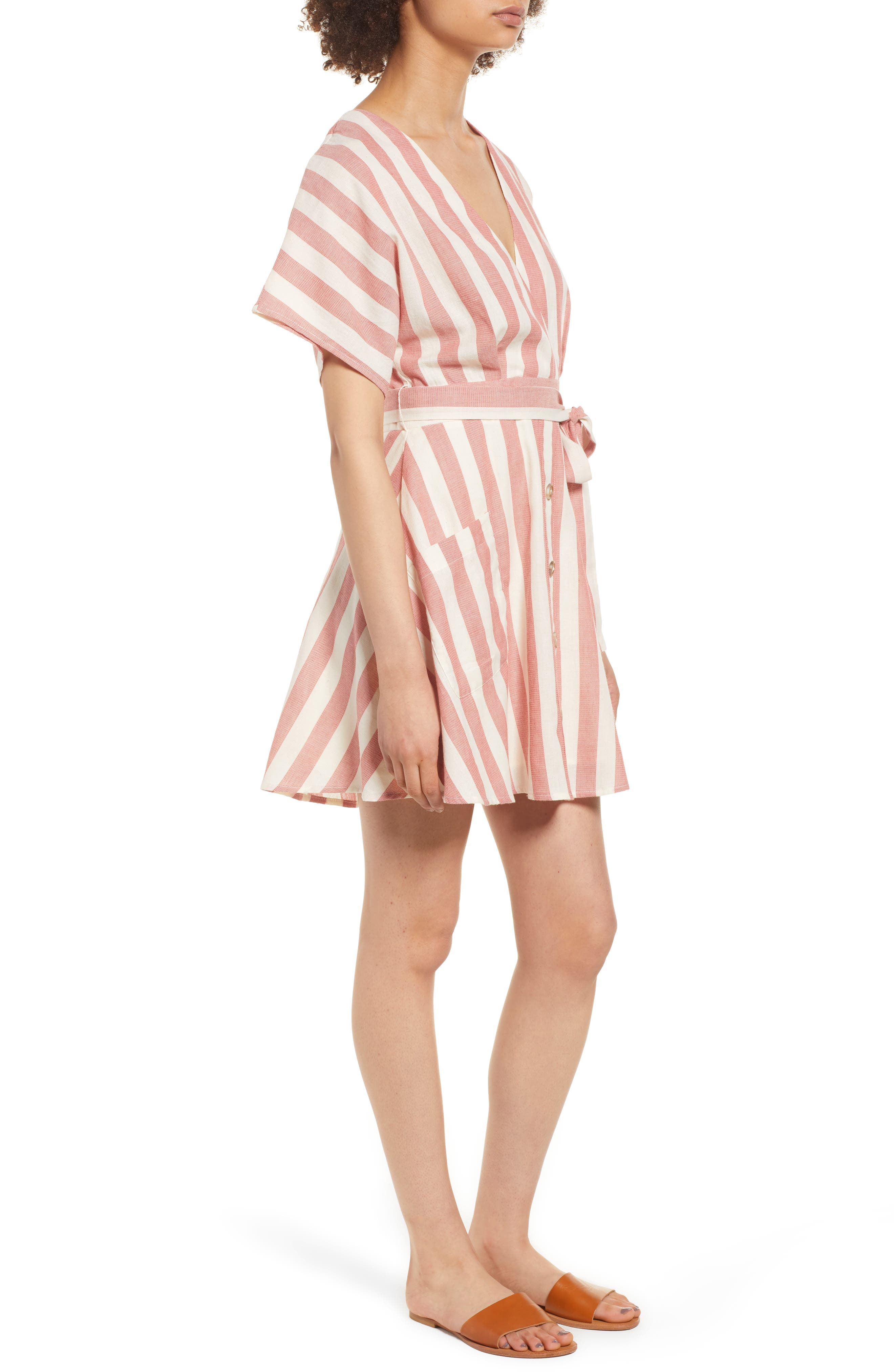 Stripe Cotton Wrap Dress,                             Alternate thumbnail 3, color,                             RED STRIPE