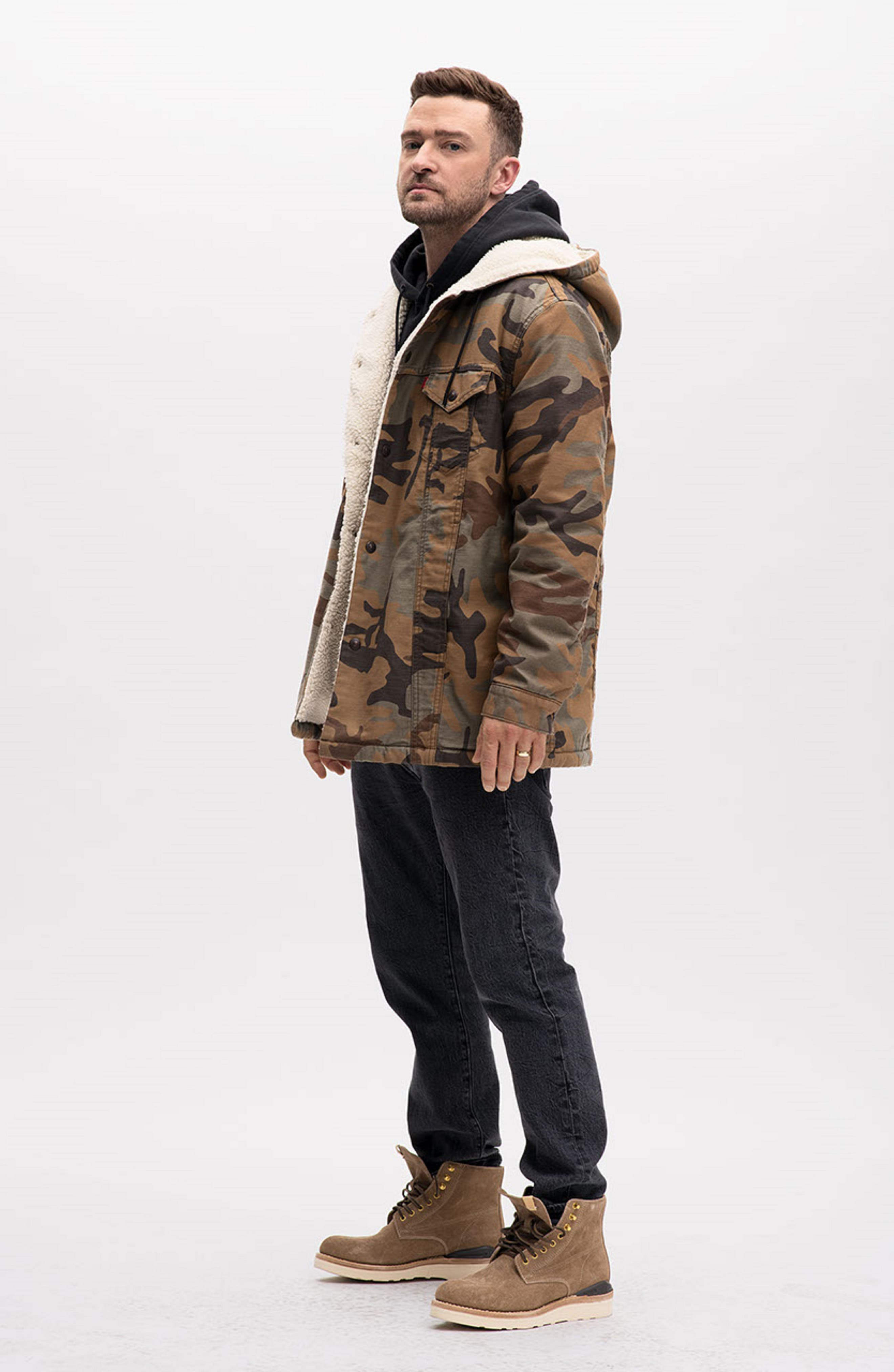 x Justin Timberlake Faux Shearling Hooded Trucker Jacket,                             Alternate thumbnail 2, color,                             CAMO
