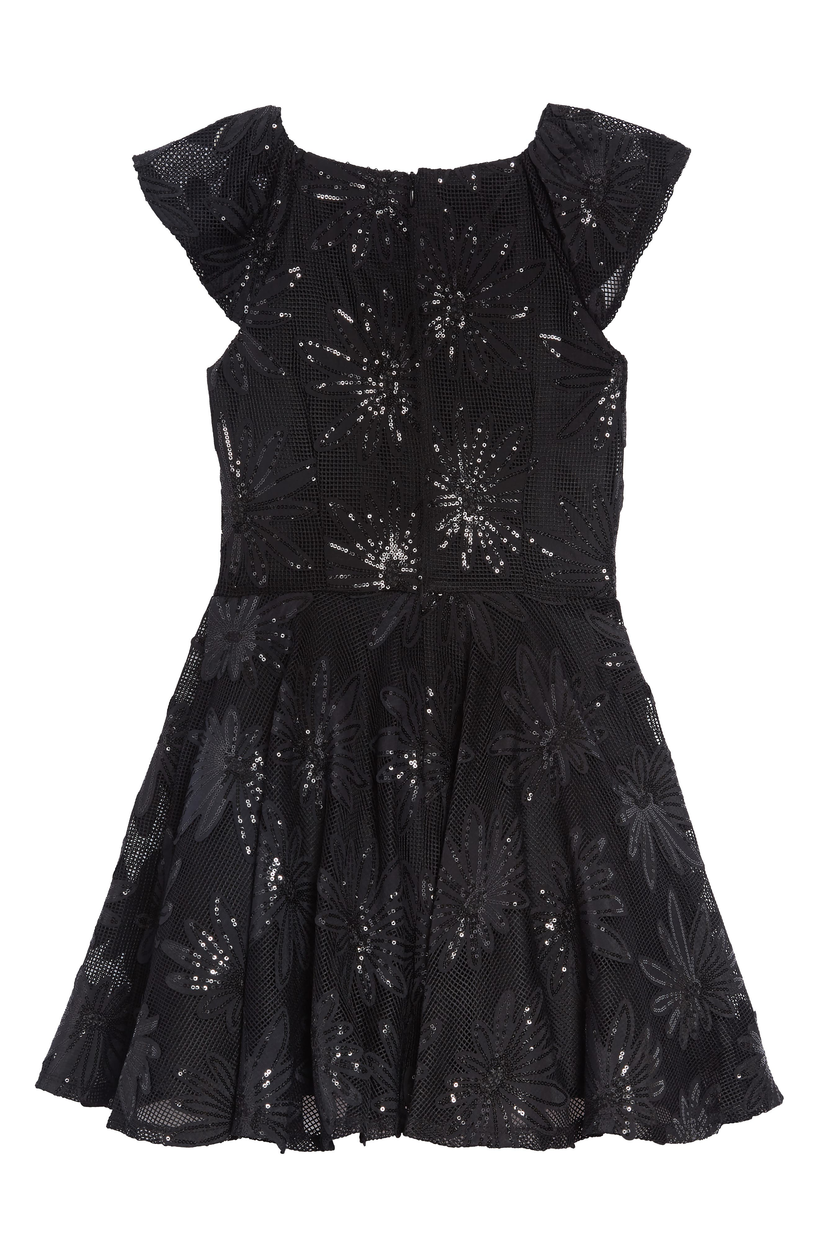 Sequin Flower Dress,                             Alternate thumbnail 2, color,                             BLACK