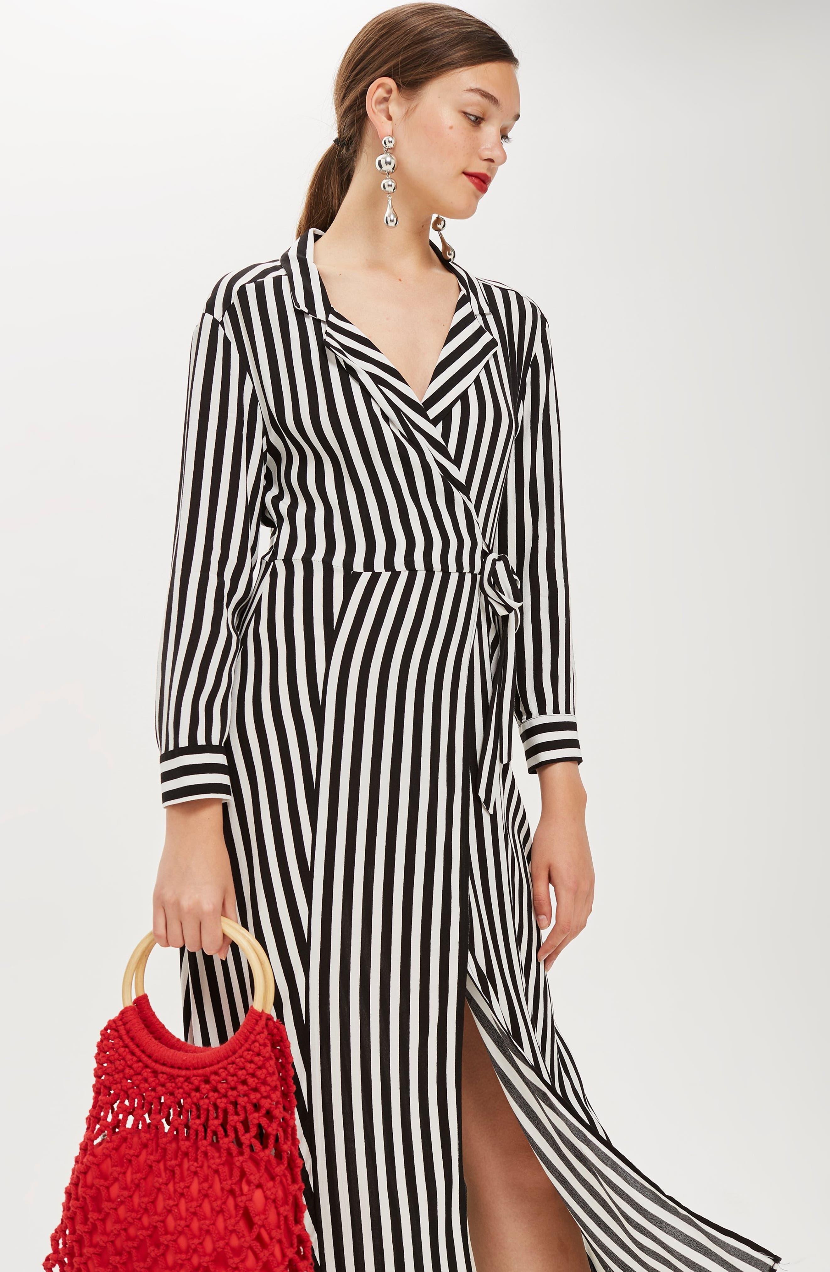 Stripe Wrap Midi Shirtdress,                             Alternate thumbnail 6, color,                             BLACK MULTI