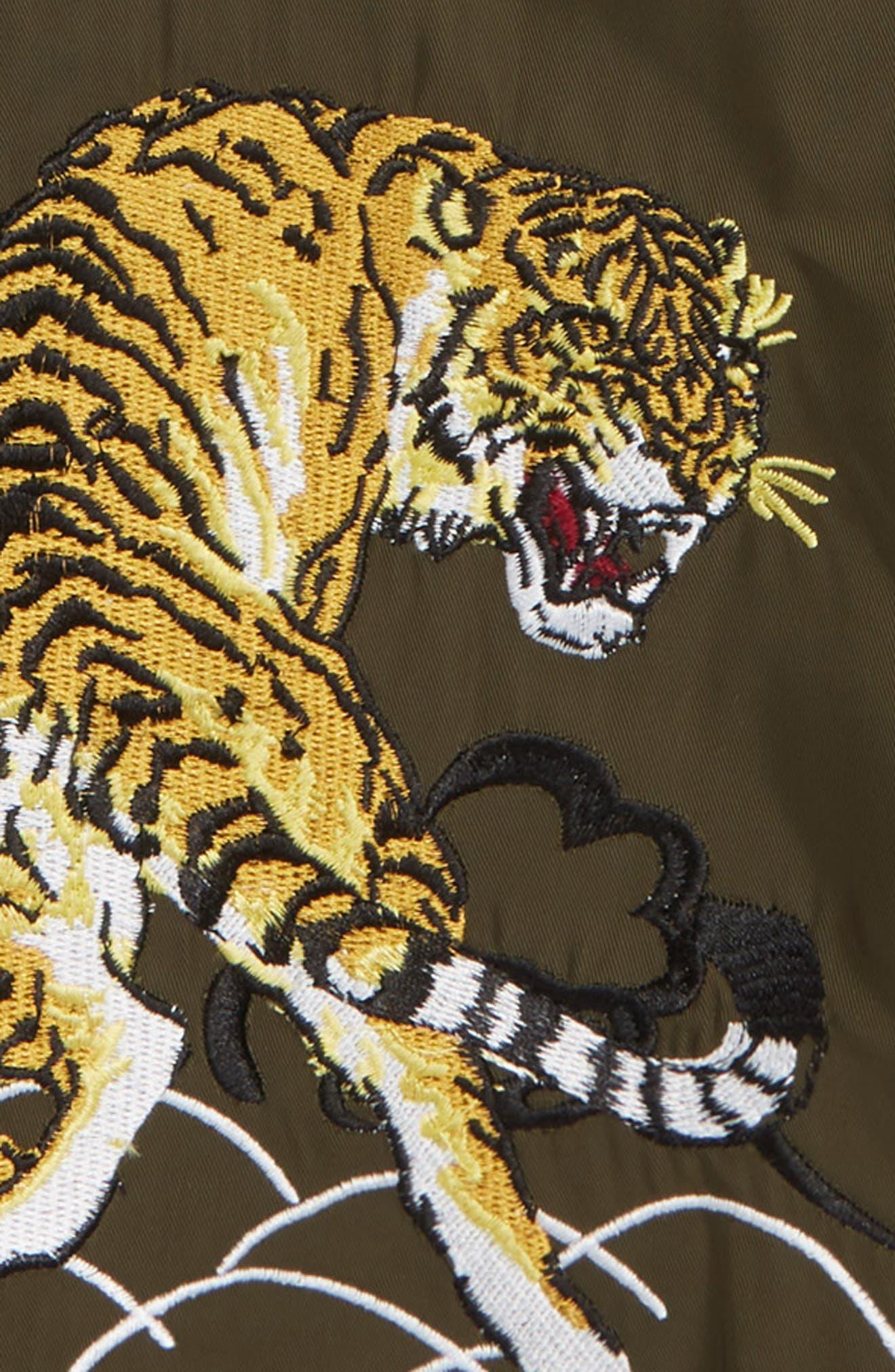 Wildcat Hooded Reversible Bomber Jacket,                             Alternate thumbnail 4, color,                             KHAKI