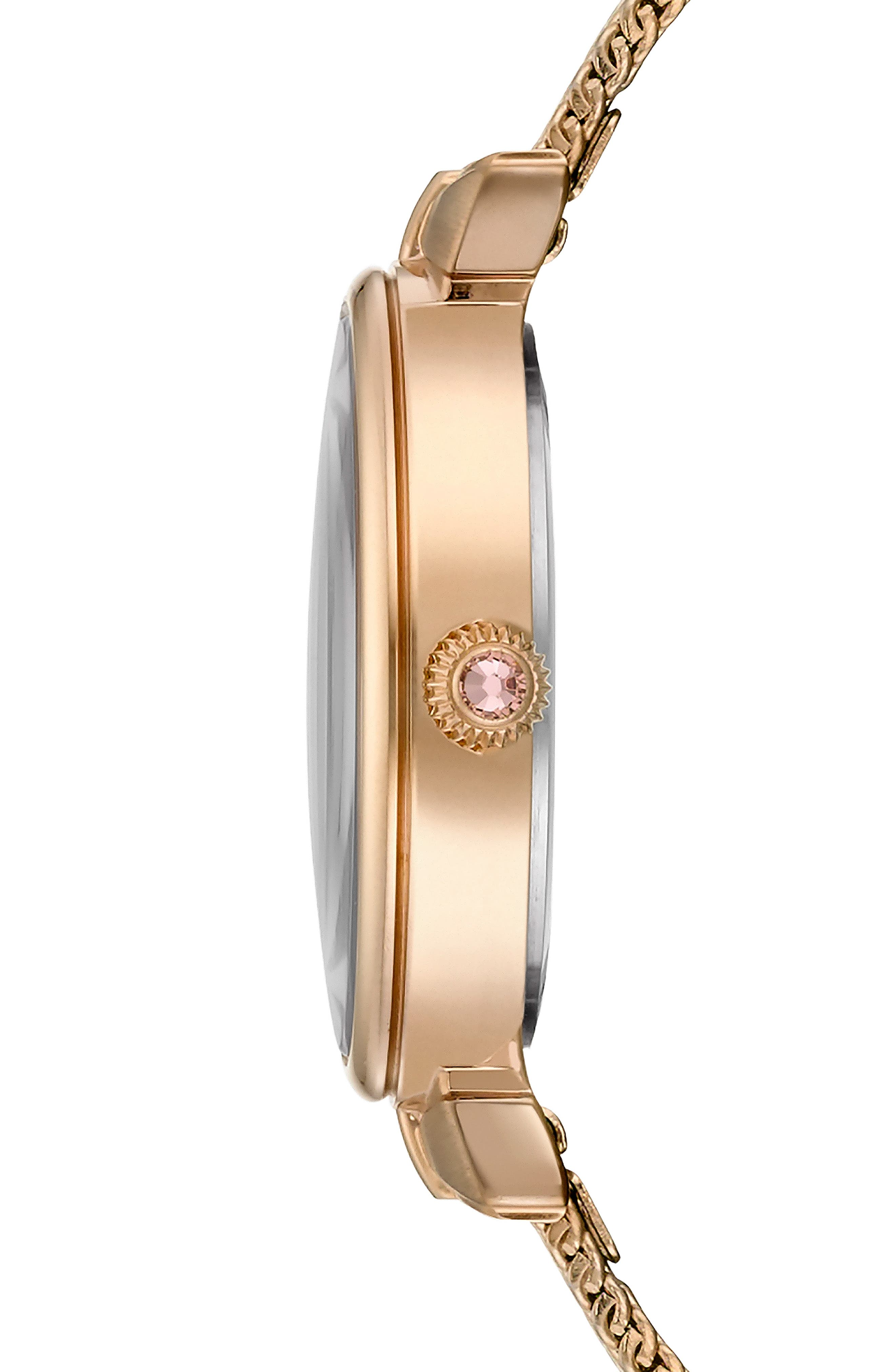 Jessica Mesh Strap Watch, 30mm,                             Alternate thumbnail 3, color,                             ROSE GOLD/ MOP/ ROSE GOLD