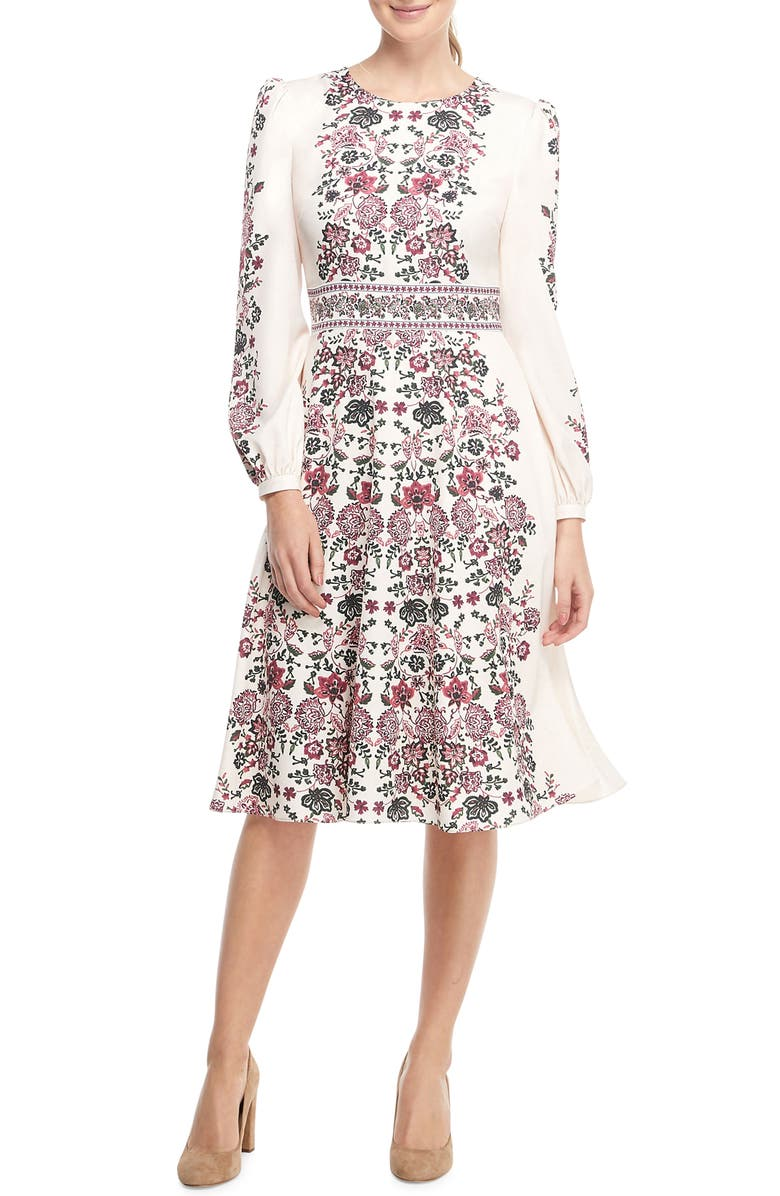 Chloe Floral Border Print A-Line Dress,                         Main,                         color, BEIGE/ BURGUNDY